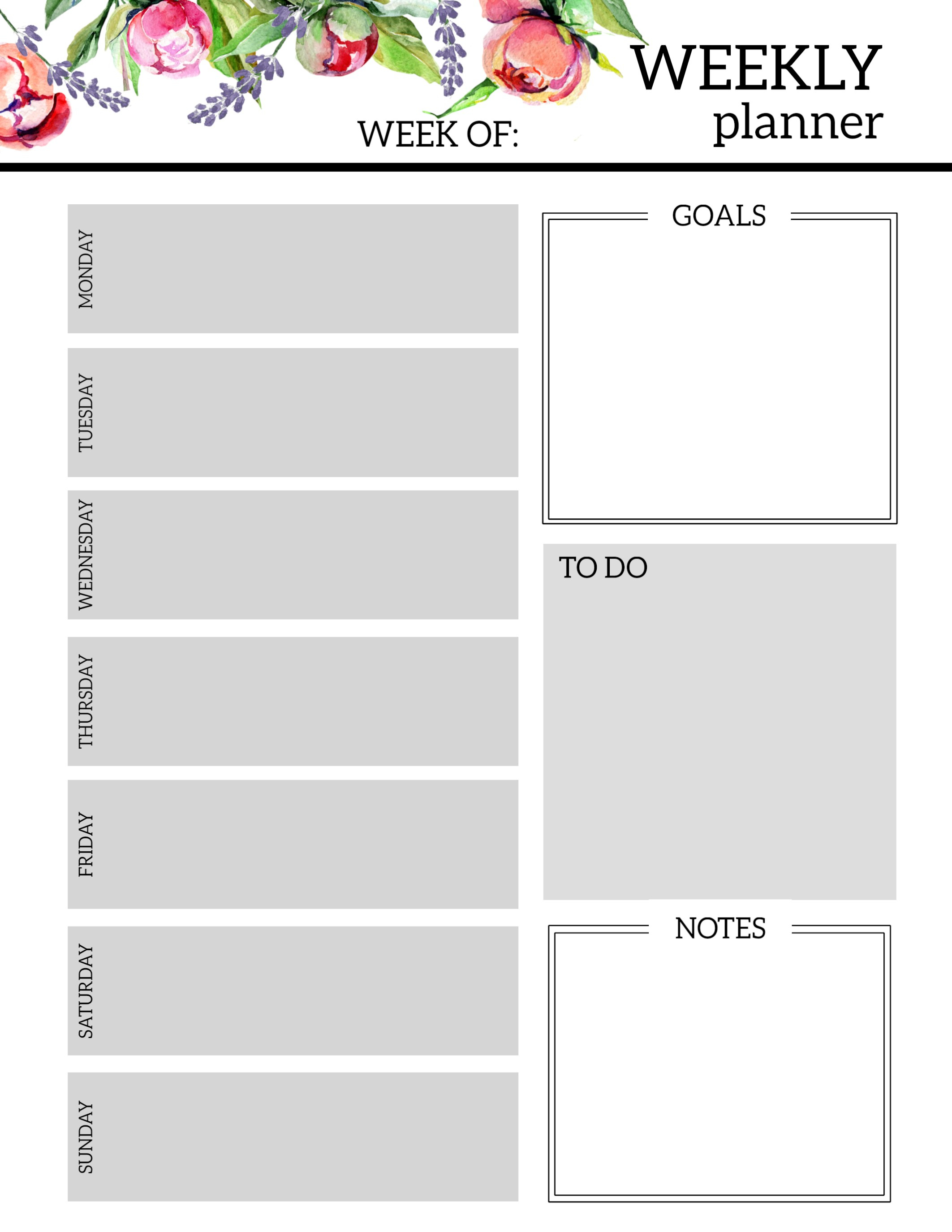 Floral Free Printable Weekly Planner Template - Paper Trail Design pertaining to Weekly Schedule Template Free To Print