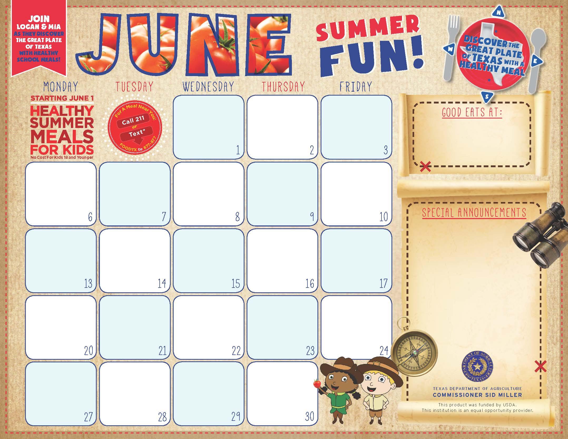 F&n Menu Calendar Templates in Summer Activity Calendar Template