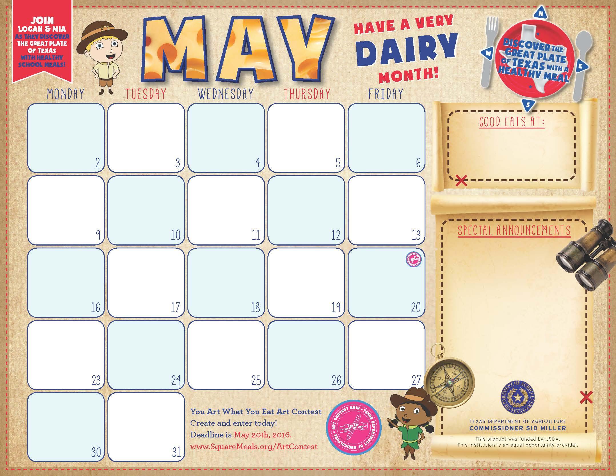 F&n Menu Calendar Templates throughout Summer Activity Calendar Template