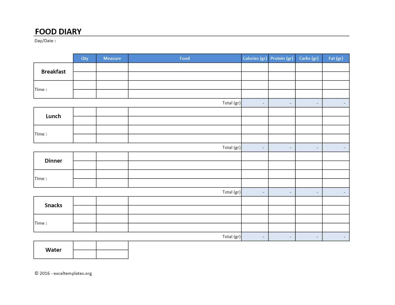 Food Diary Template | Excel Templates | Excel Spreadsheets within Excel Quarterly Calendar Template