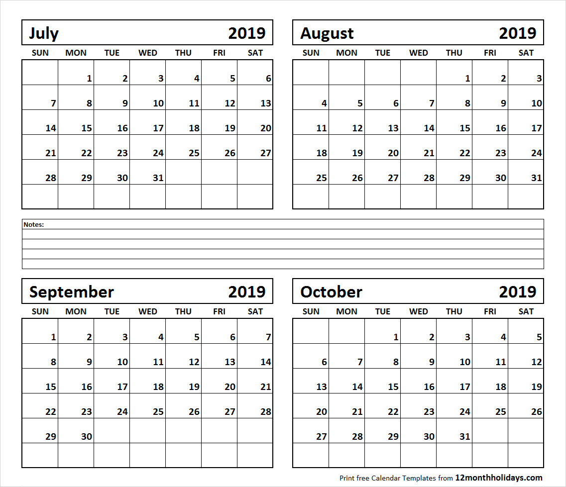 Four Month July August September October 2019 Calendar Template within Calendars Sept And October 2019