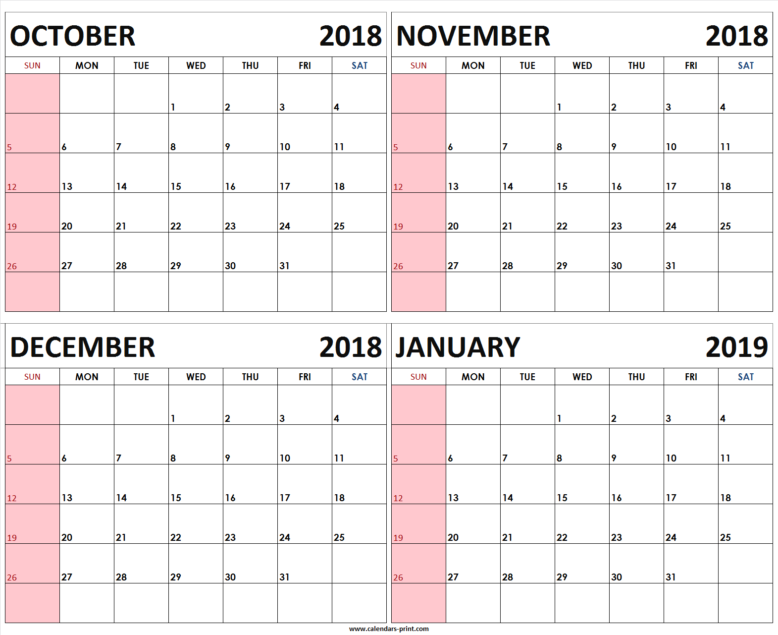 Four Monthly October November December 2018 January 2019 Calendar intended for 4 Month Blank Calendar Template