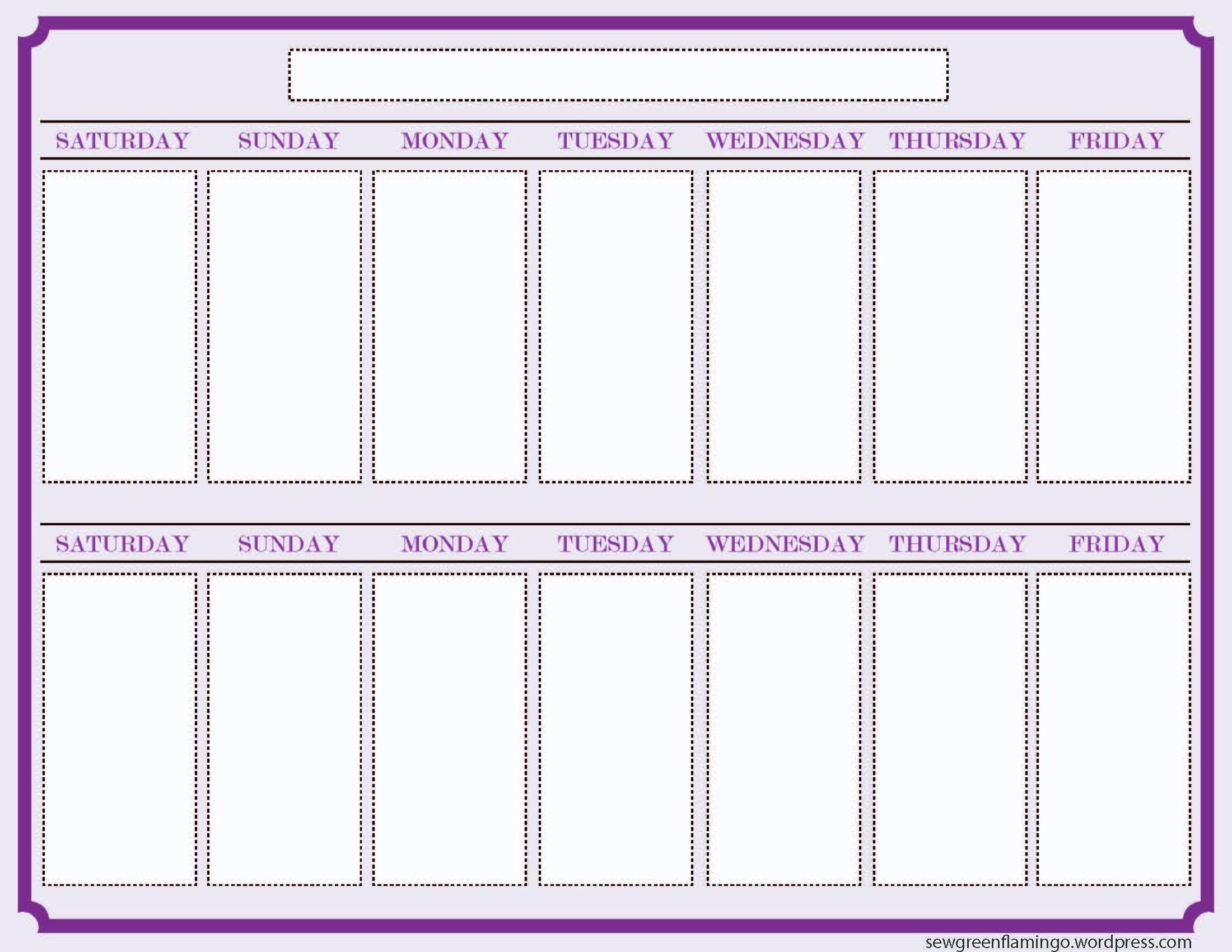 Free 2 Week Blank Printable Calendar Calendar 2018 Design Free 2 intended for 2 Week Blank Calendar Template