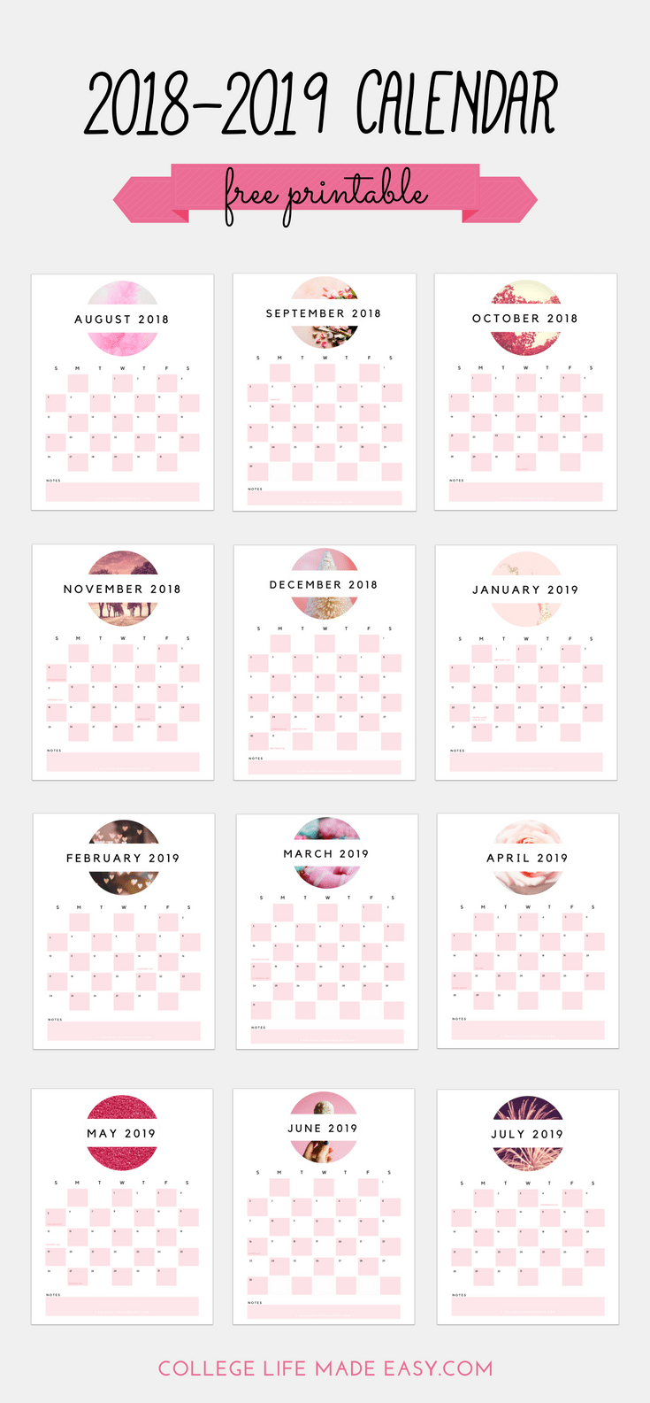Free 2018 - 2019 Printable Calendar (Cute & In Soft Pink!) with Blank Calendar Months For Year 2019-2020 Girly