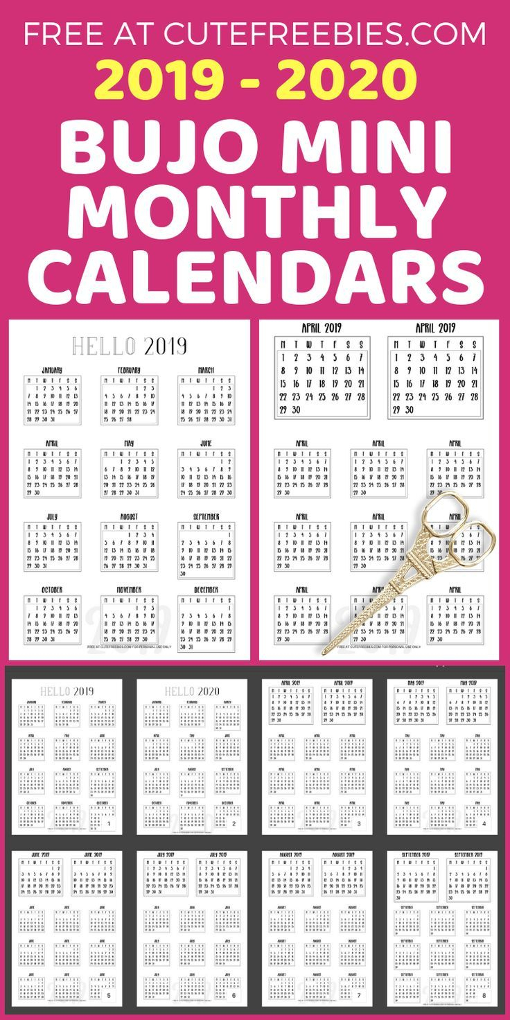 Free 2019-2020 Bullet Journal Calendar Printable Stickers | Adulting for 11 X 8.5 Calendar Pages 2020 Free