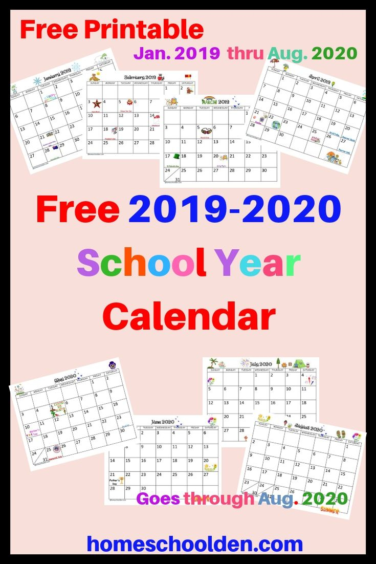 Free 2019-2020 Calendar Printable This Free Calendar Printable for Free Printable Homeschool Calendar 2019-2020 Year At A Glance