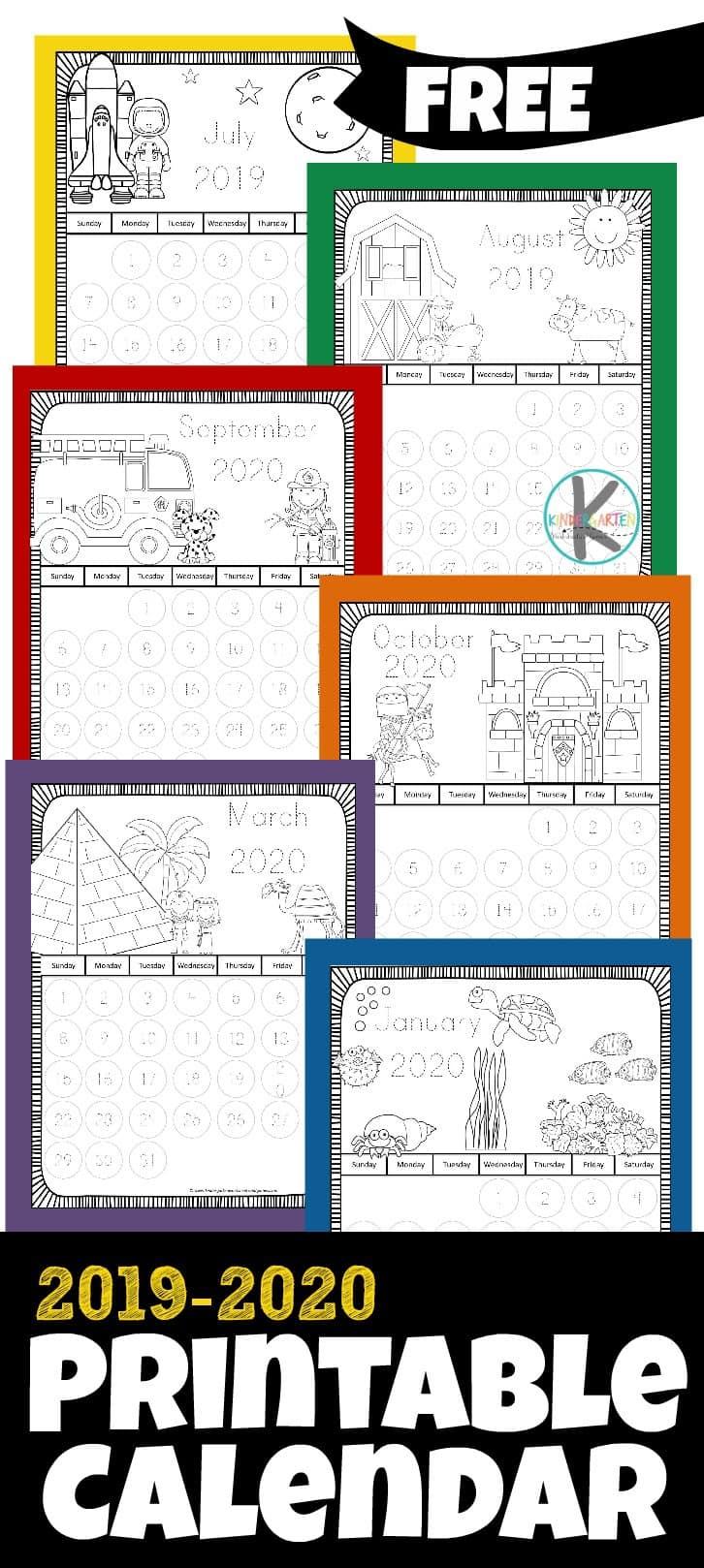 Free 2019-2020 Printable Calendar To Color – Kindergarten Worksheets in 2020 Free Printable Coloring Calendar