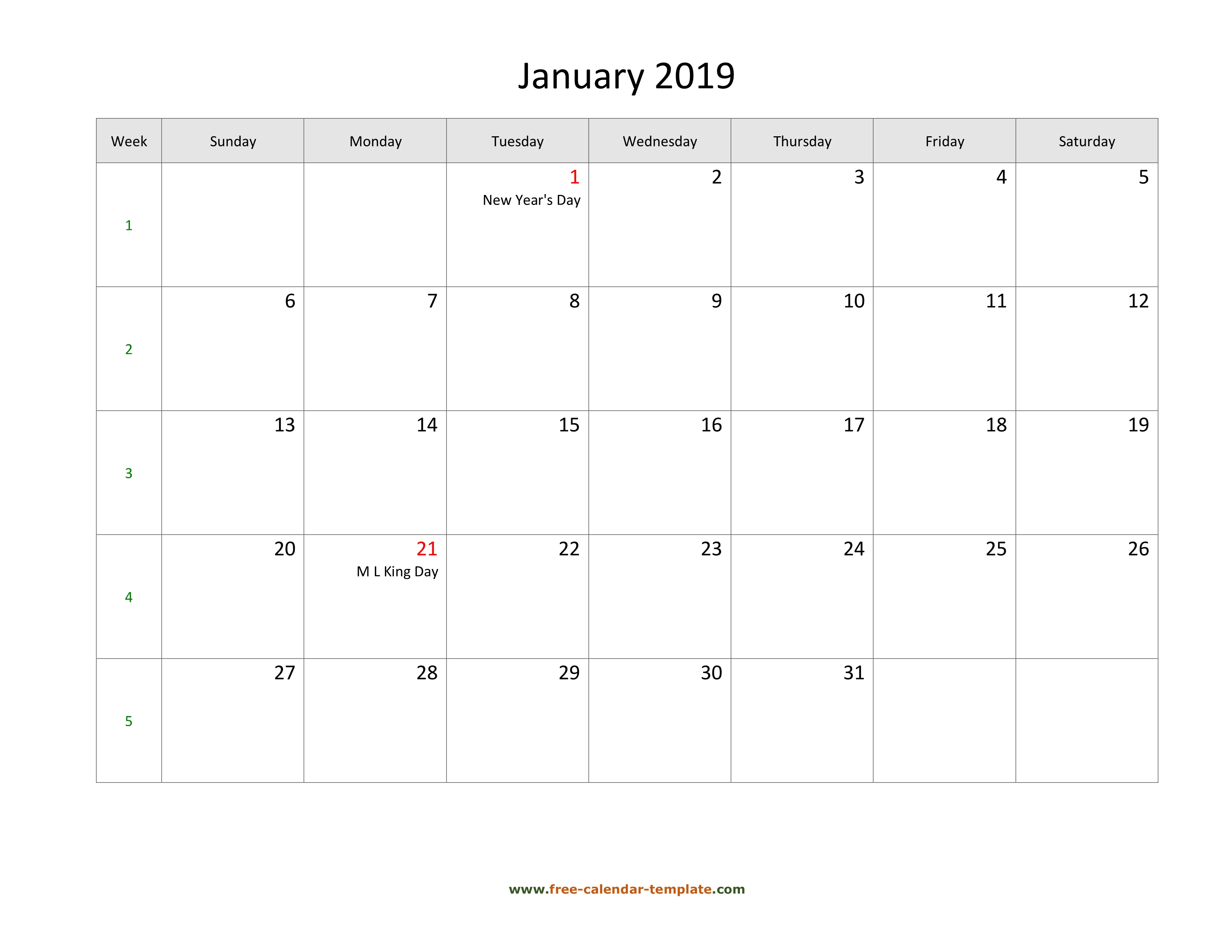 Free 2019 Calendar Blank January Template (Horizontal) | Free throughout January Calendar Printable Template With Holidays