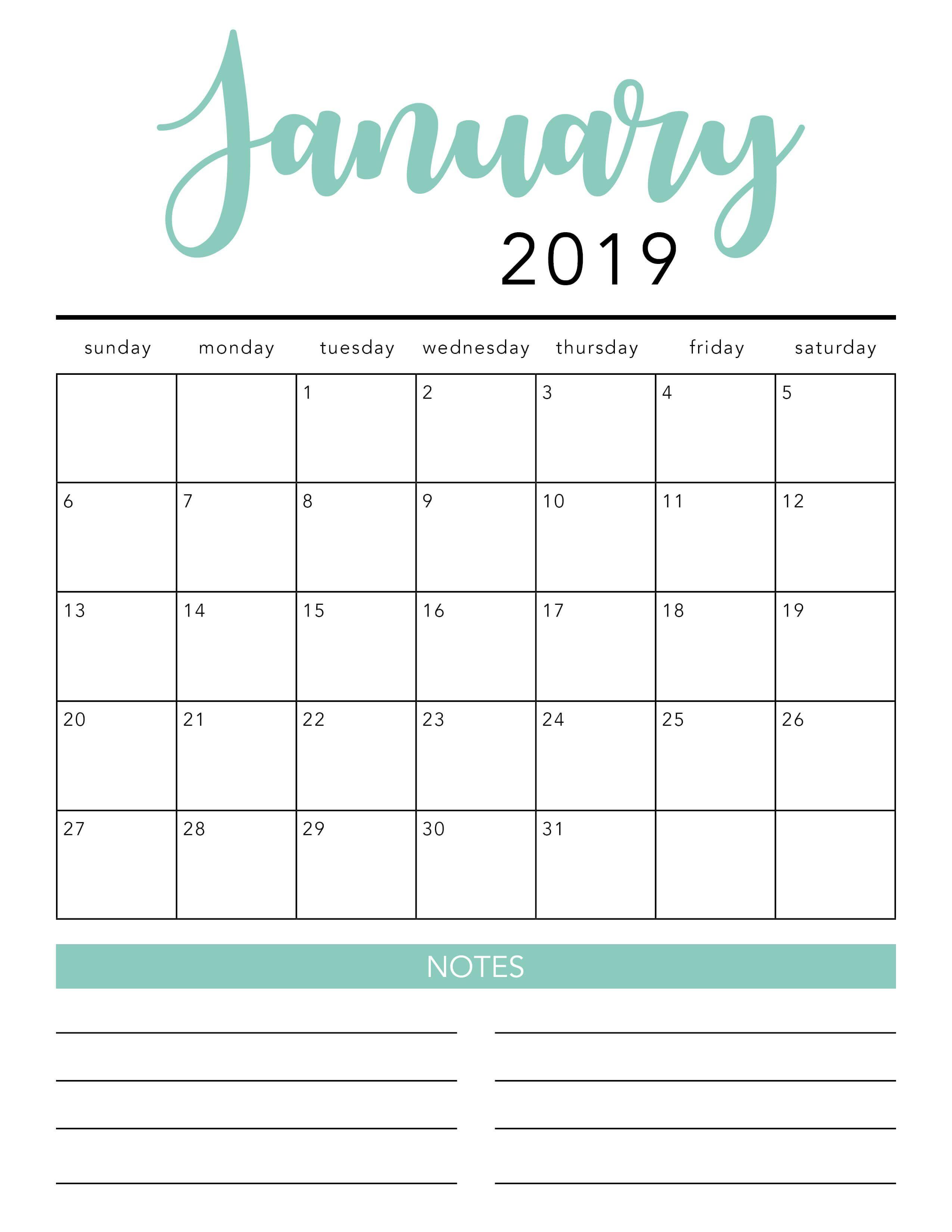 Free 2019 Printable Calendar Template (2 Colors!) - I Heart Naptime for Free Printable Preschool Handprint Calendar Templates