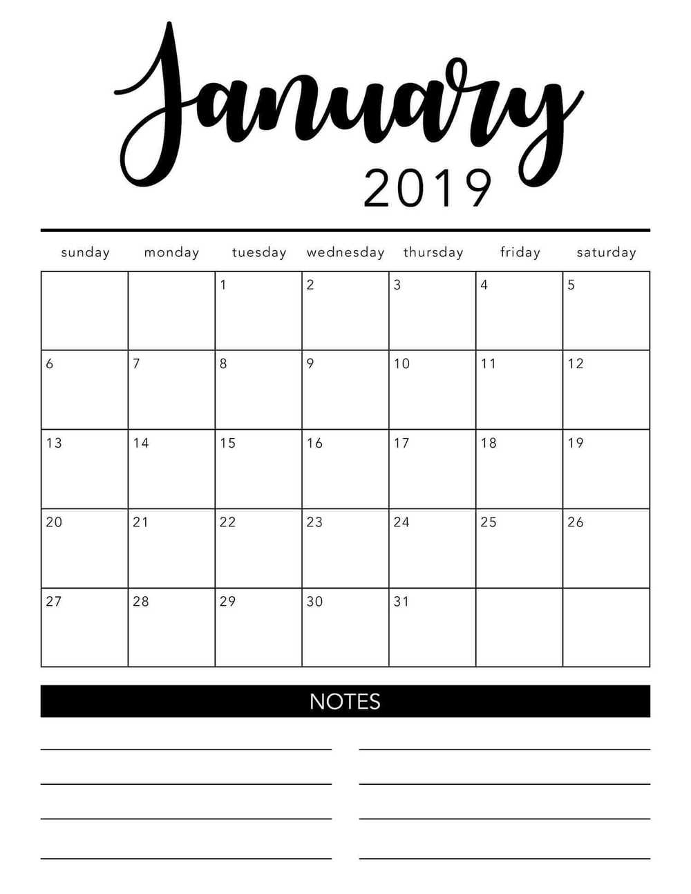 Free 2019 Printable Calendar Template (2 Colors!) - I Heart Naptime in Monthly Calendar Template Printable Notes