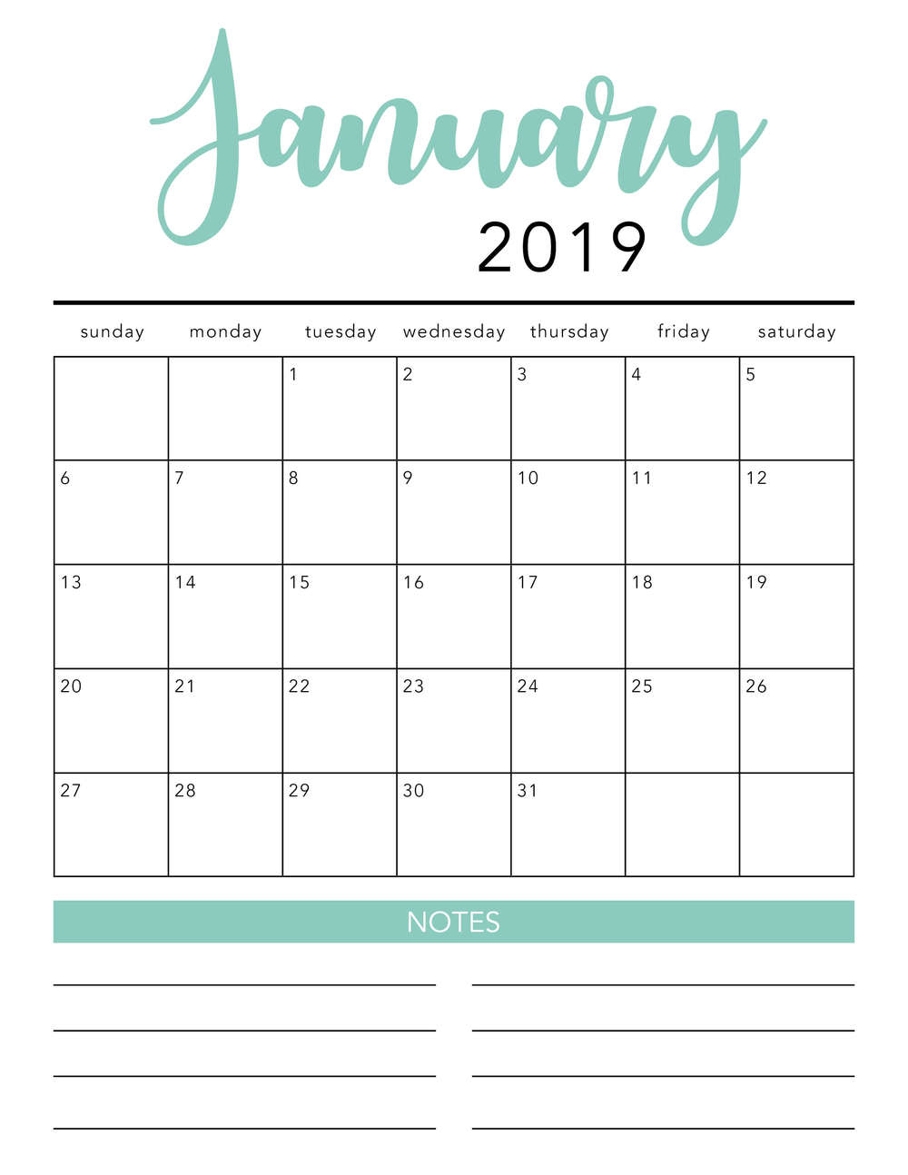 Free 2019 Printable Calendar Template (2 Colors!) - I Heart Naptime inside Free Blank Printable Monthly Calendar