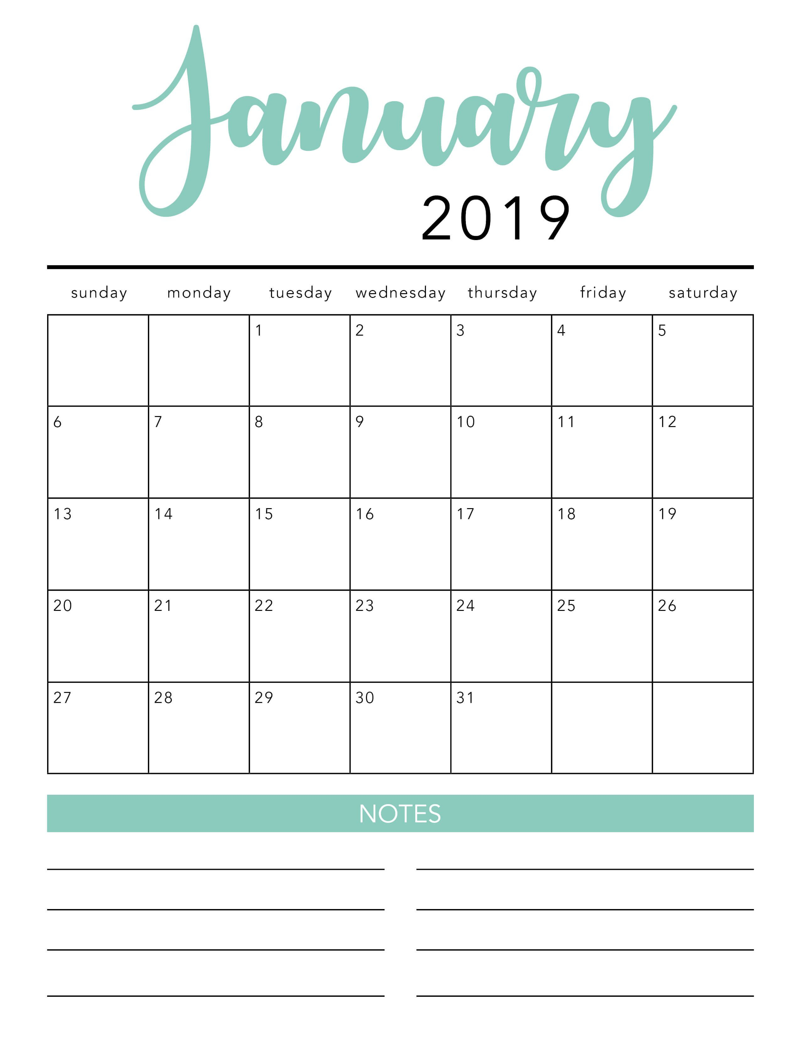 Free 2019 Printable Calendar Template (2 Colors!) - I Heart Naptime throughout Free Printable Blank Advent Activities List Minimal