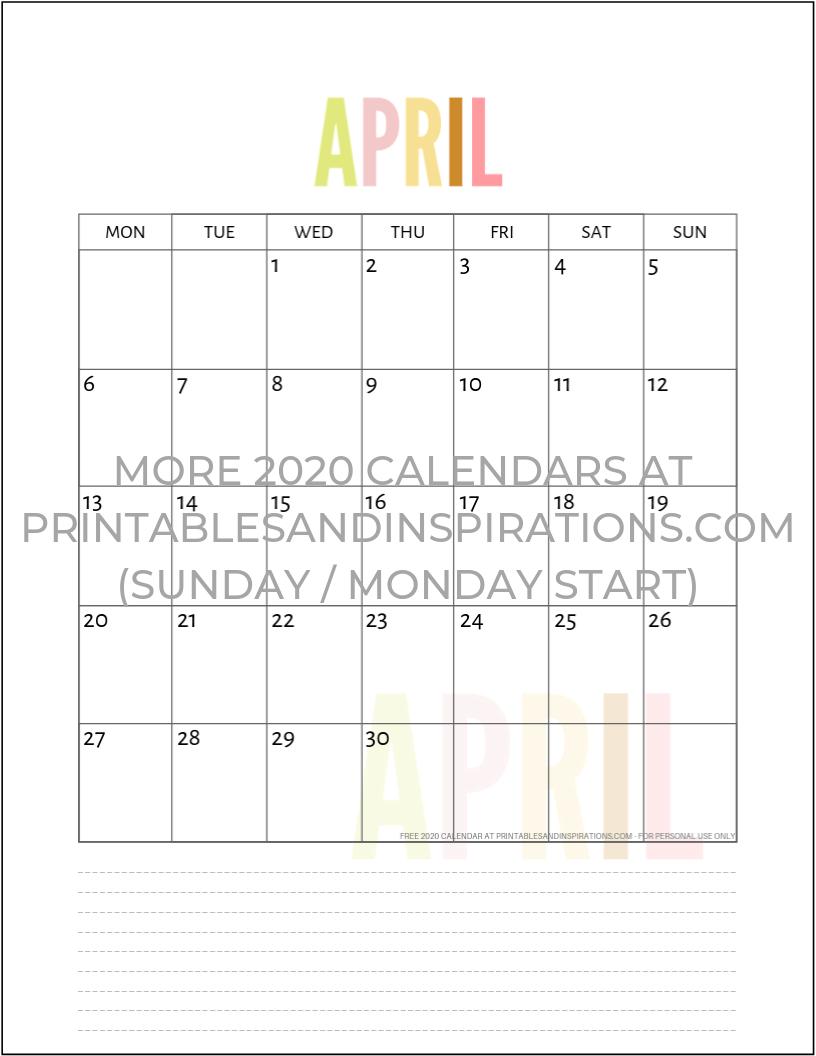 Free 2020 Calendar Printable Planner Pdf | Inspiration | Printable pertaining to 2020 Calendar Printable Free Pdf