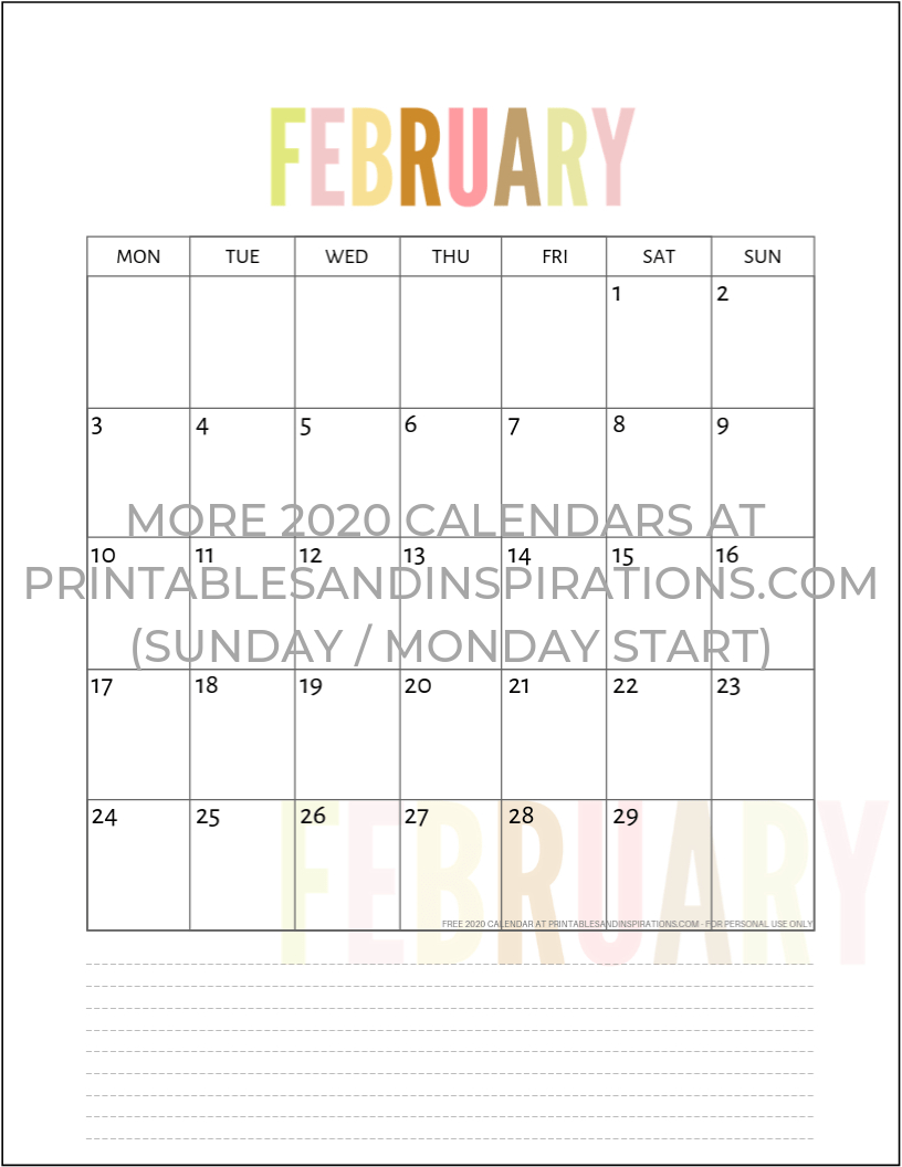 Free 2020 Calendar Printable Planner Pdf | Inspiration | Printable within 2020 Printable Calendar Free That Start With Monday