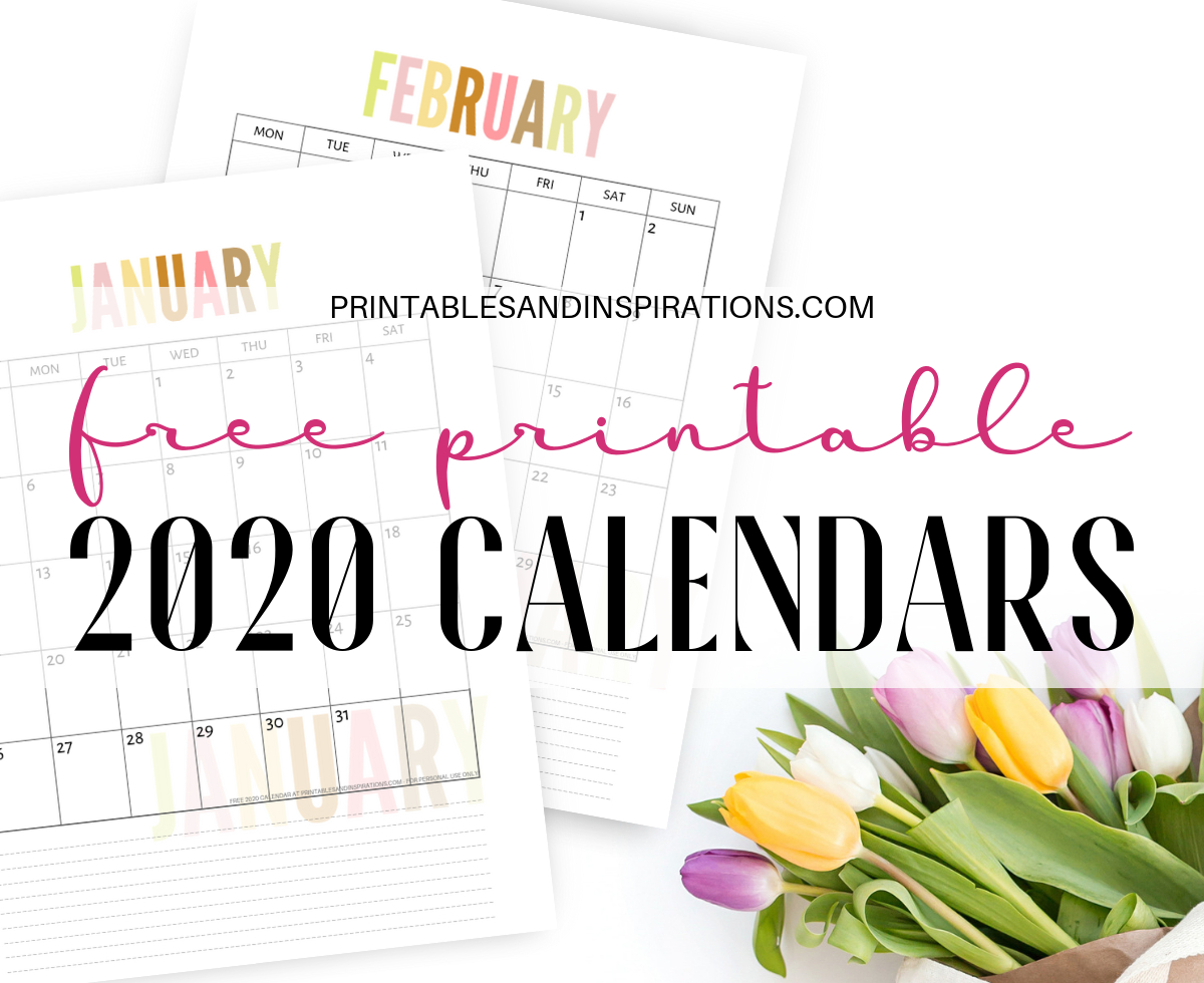 Free 2020 Calendar Printable Planner Pdf - Printables And Inspirations in Printable 2020 Monthly Calendars Starting With Monday