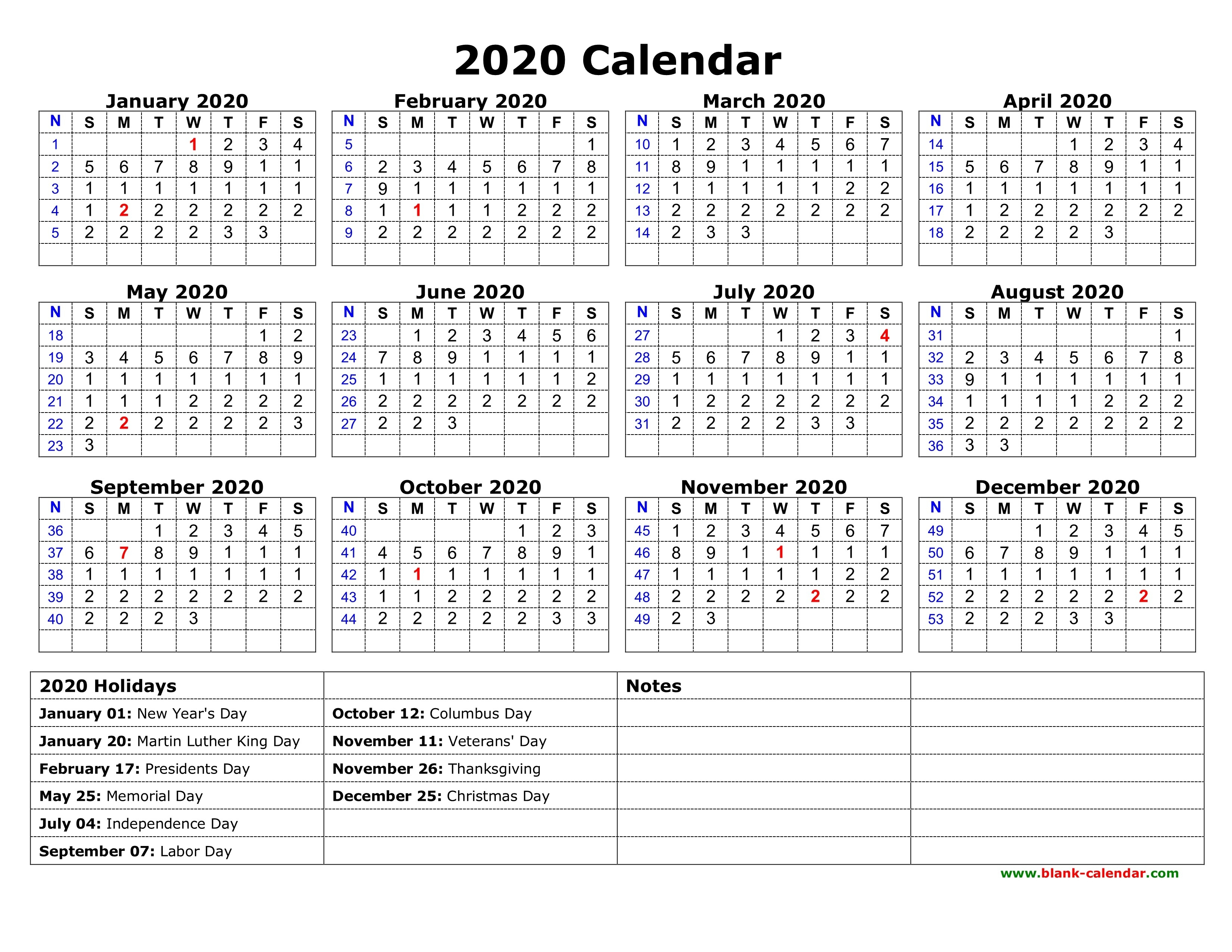 Free 2020 Printable Calendar | Isacl pertaining to Free 2020 Printable Pocket Calendar