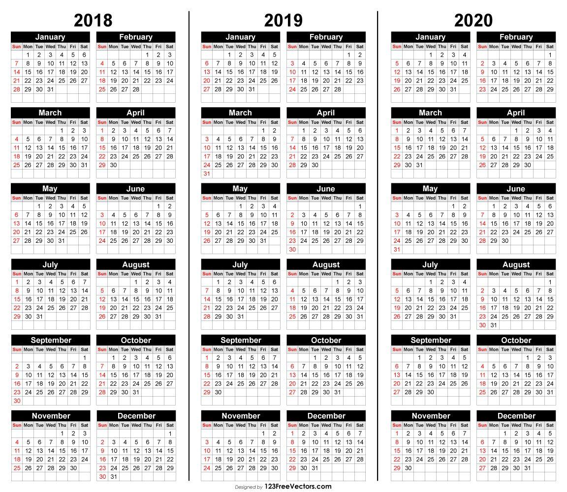 Free 3 Year Calendar 2018 2019 2020 | 2019 Calendar | Calendar 2020 for Three Year Calendar 2020 -2023