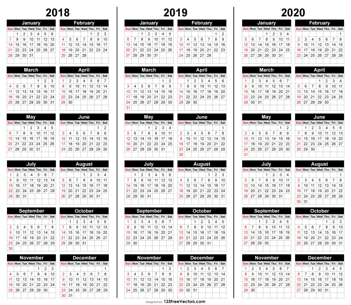 Free 3 Year Calendar 2018 2019 2020 | 2019 Calendar | Calendar 2020 inside 3 Year Calendar Printable 2018 2019 2020