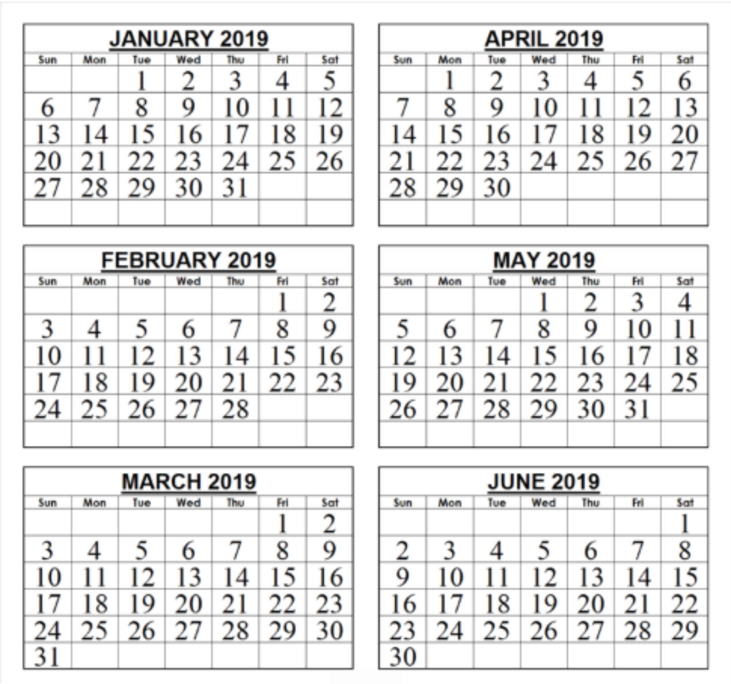 Free 6 Month Calendar 2019 • Printable Blank Calendar Template throughout Blank 6 Month Calendar