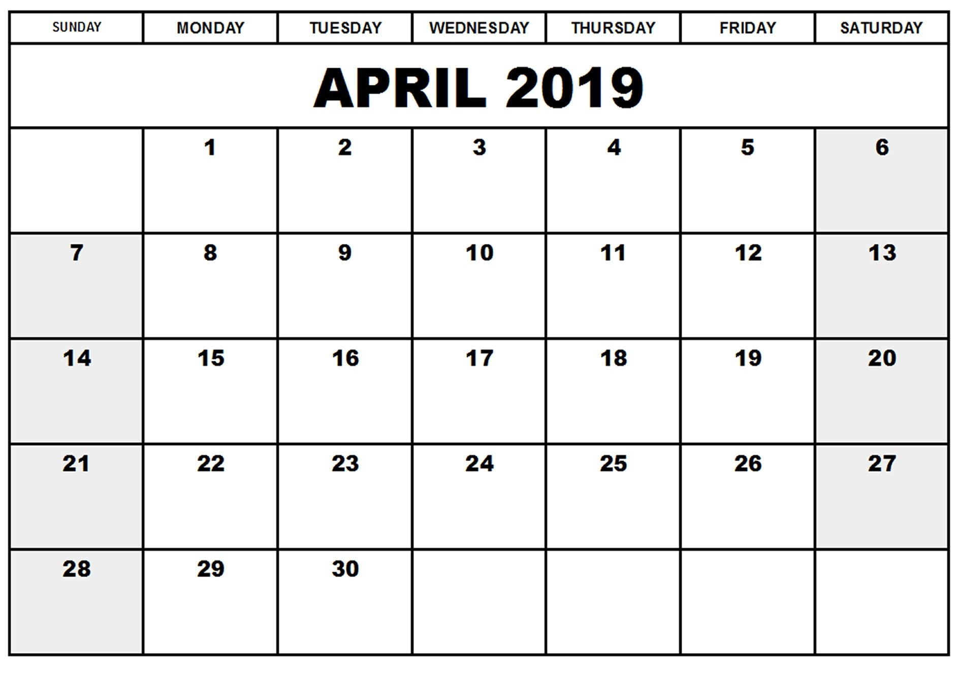 Free April 2019 Calendar Printable Blank Templates - Pdf Word within Nov Calendar Printable Template