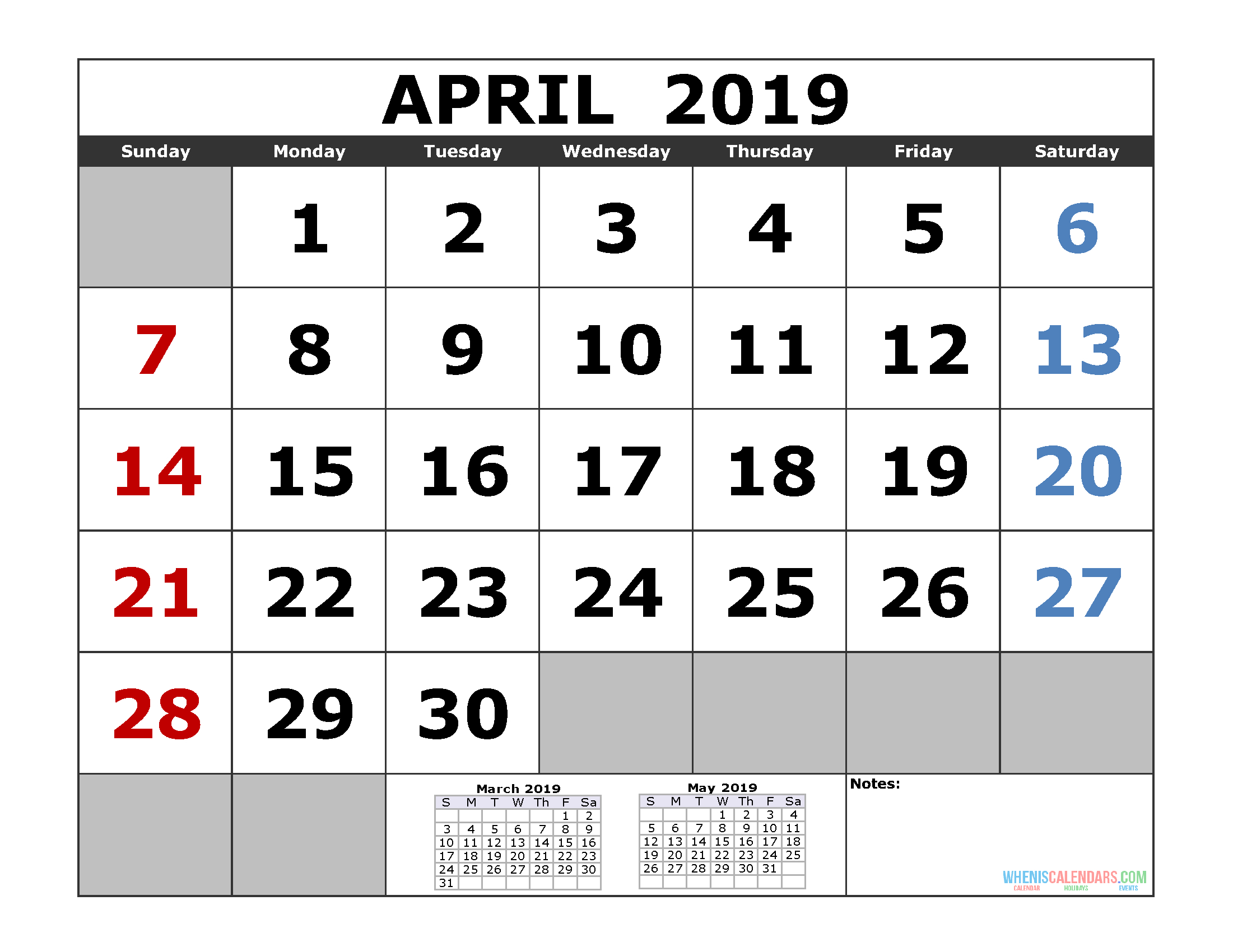 Free April 2019 Printable Calendar Templates [Us. Edition] | Free within Printable 3 Month One Page April May June Calendar Template