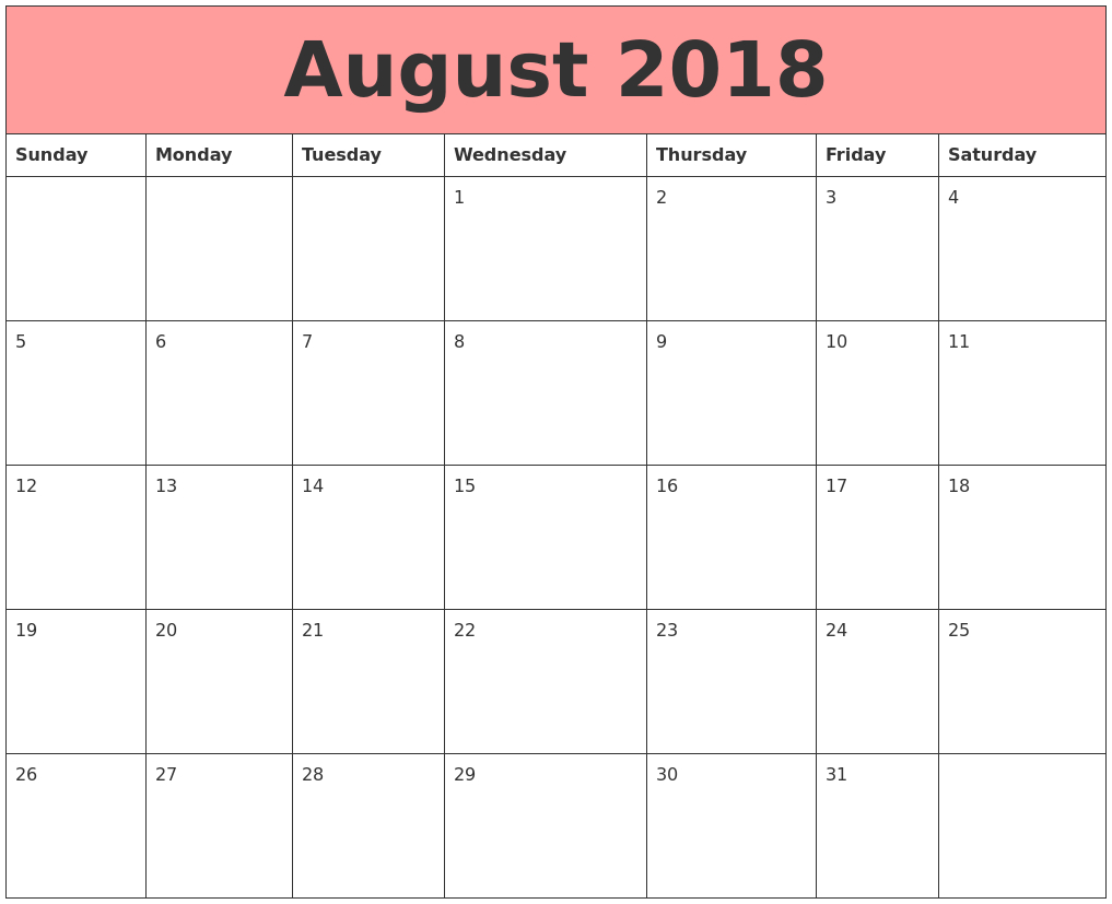 Free August 2018 Calendar In Printable Format Templates - Calendar with August Fun Calendar Template