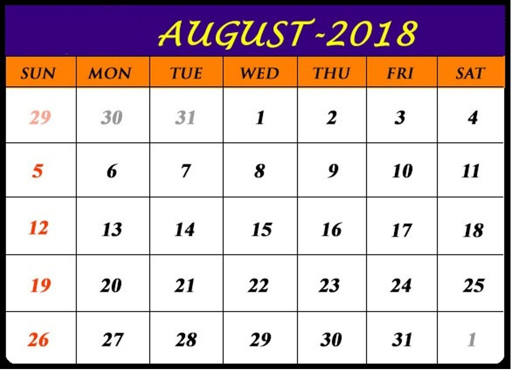 Free August 2018 Printable Calendar Pdf Word Excel Blank Templates with Cute August Calendar Printable Template