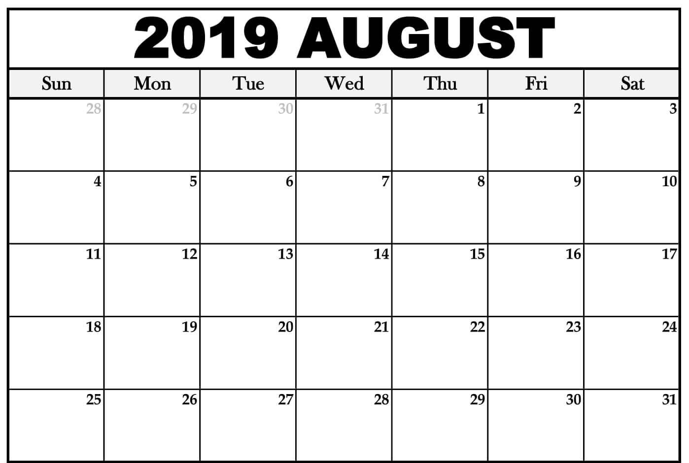 Free August 2019 Calendar Template Editable Printable Download throughout Monthly August Calander Template