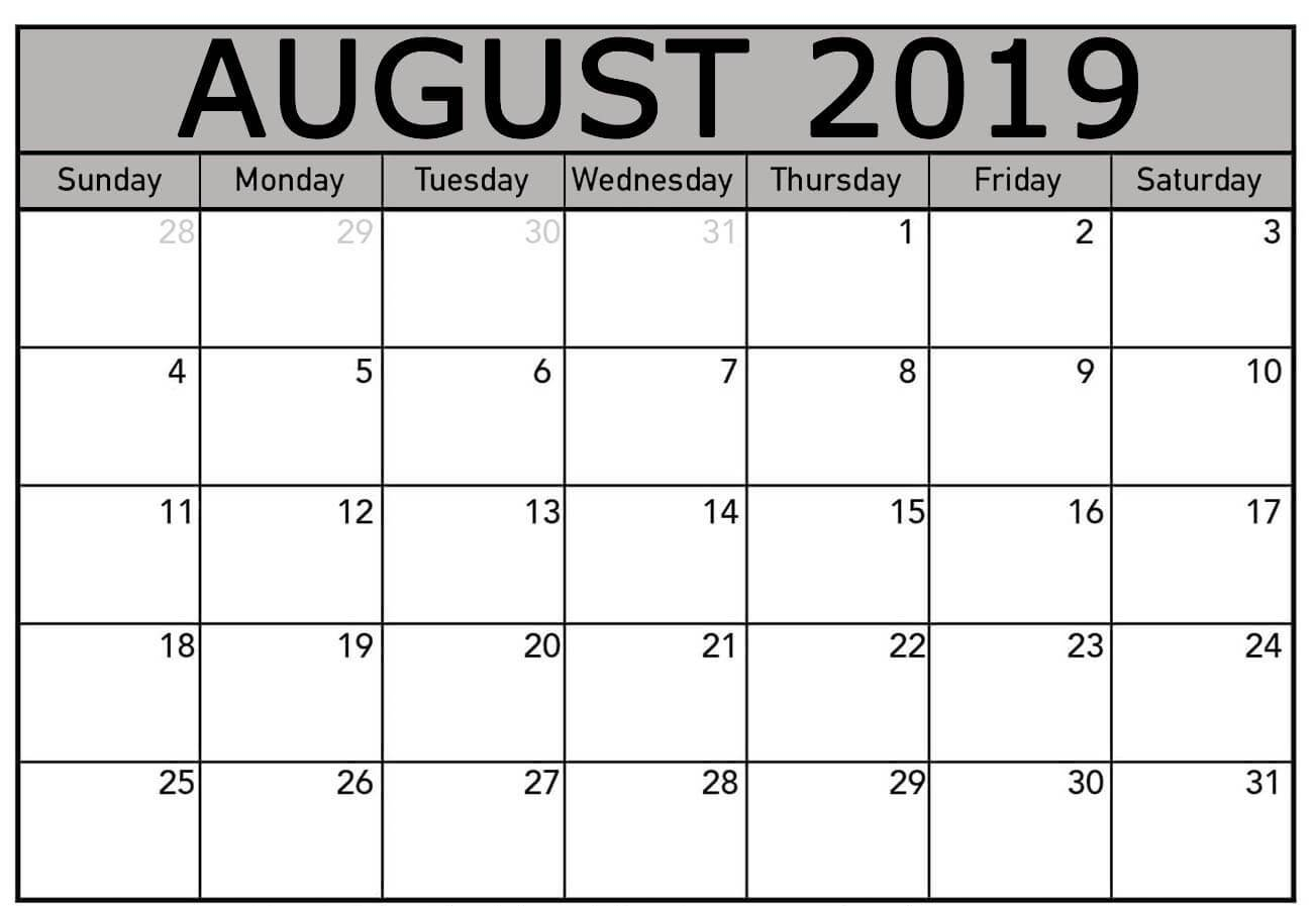 Free August 2019 Calendar Template Editable Printable Download within August Calendar Template To Type In