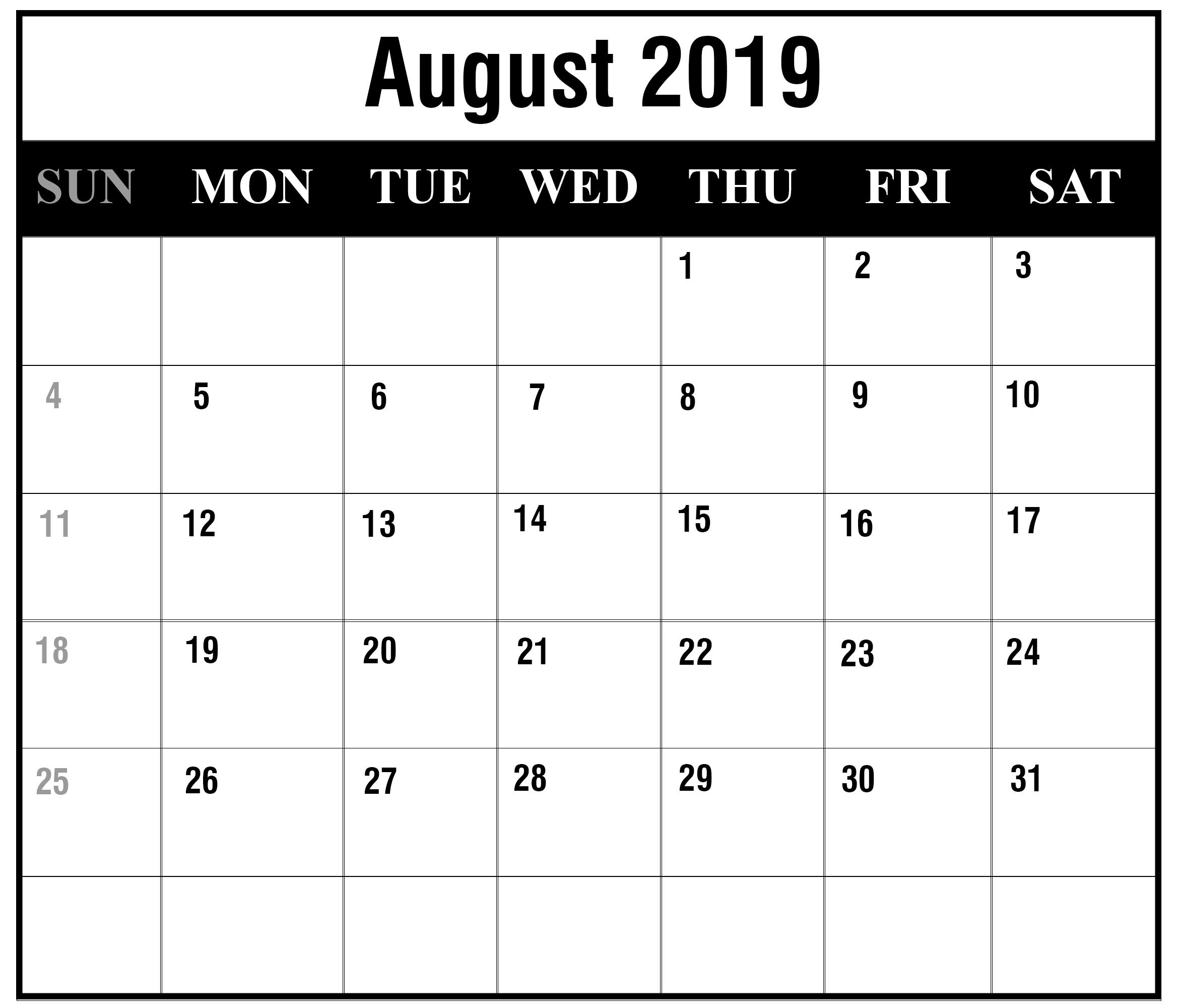 Free August 2019 Printable Calendar Template In Pdf, Excel, Word inside August Calendar Template Excel