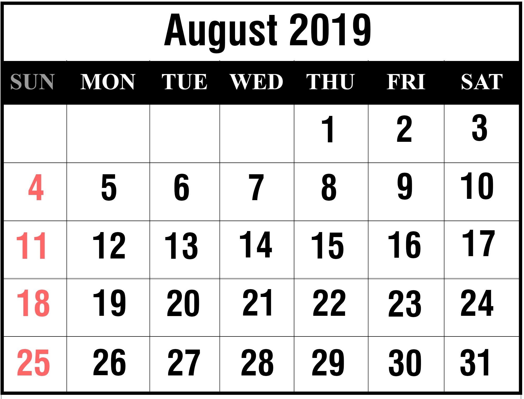 Free August 2019 Printable Calendar Template In Pdf, Excel, Word regarding August Calendar Template Excel