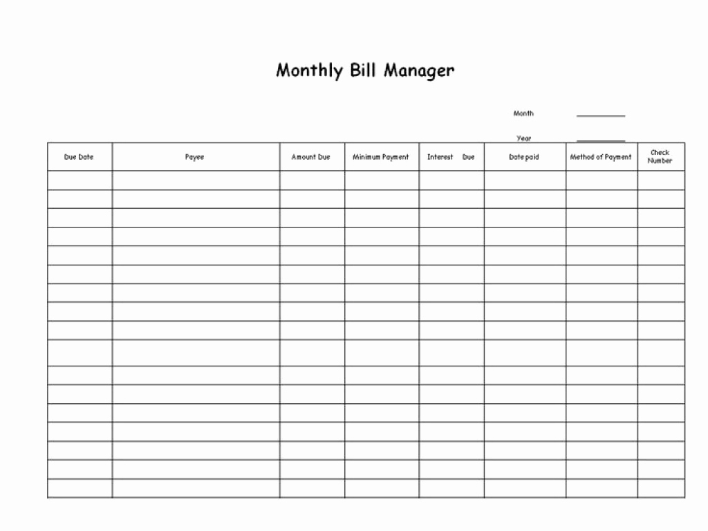Free Bill Management Spreadsheet Or Free Blank Printable Bill Paying within Free Blank Printable Bill Paying Chart