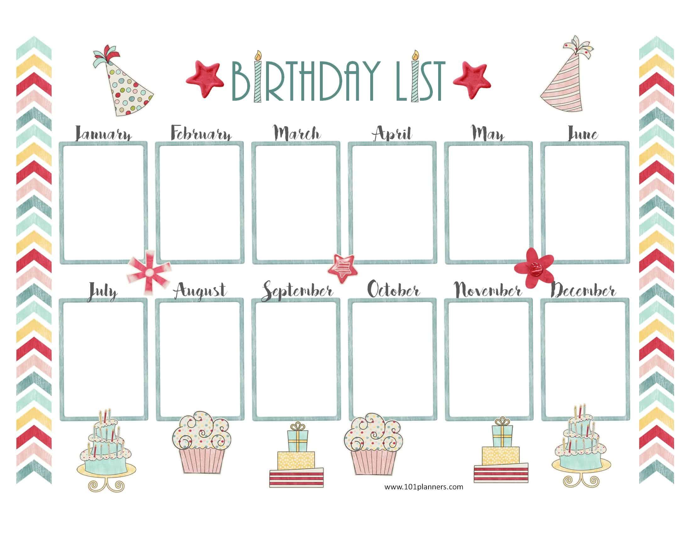 Free Birthday Calendar   Printable & Customizable   Many Designs! for Monthly Birthday Calendar Template