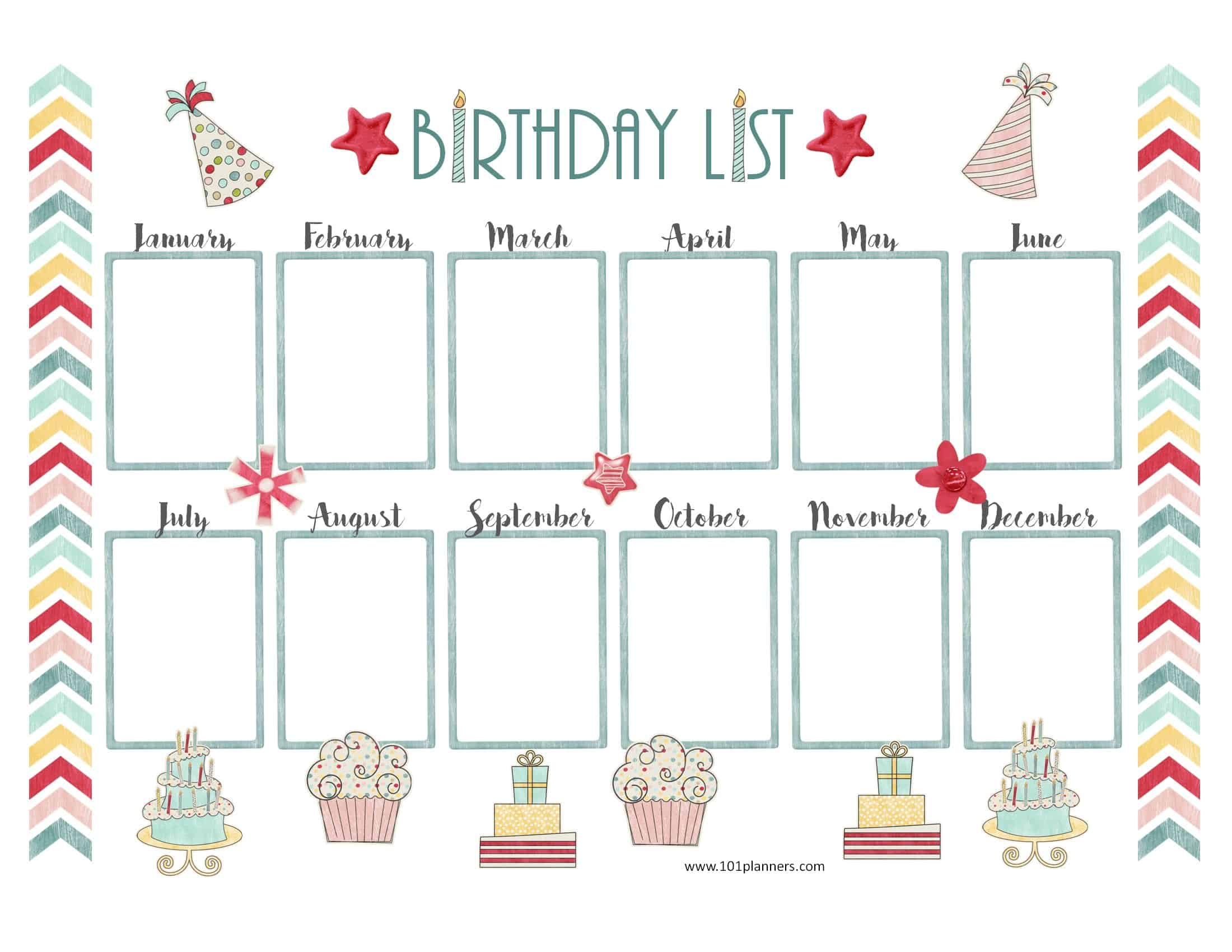 Free Birthday Calendar | Printable & Customizable | Many Designs! in Edited Birthday Calendar Template