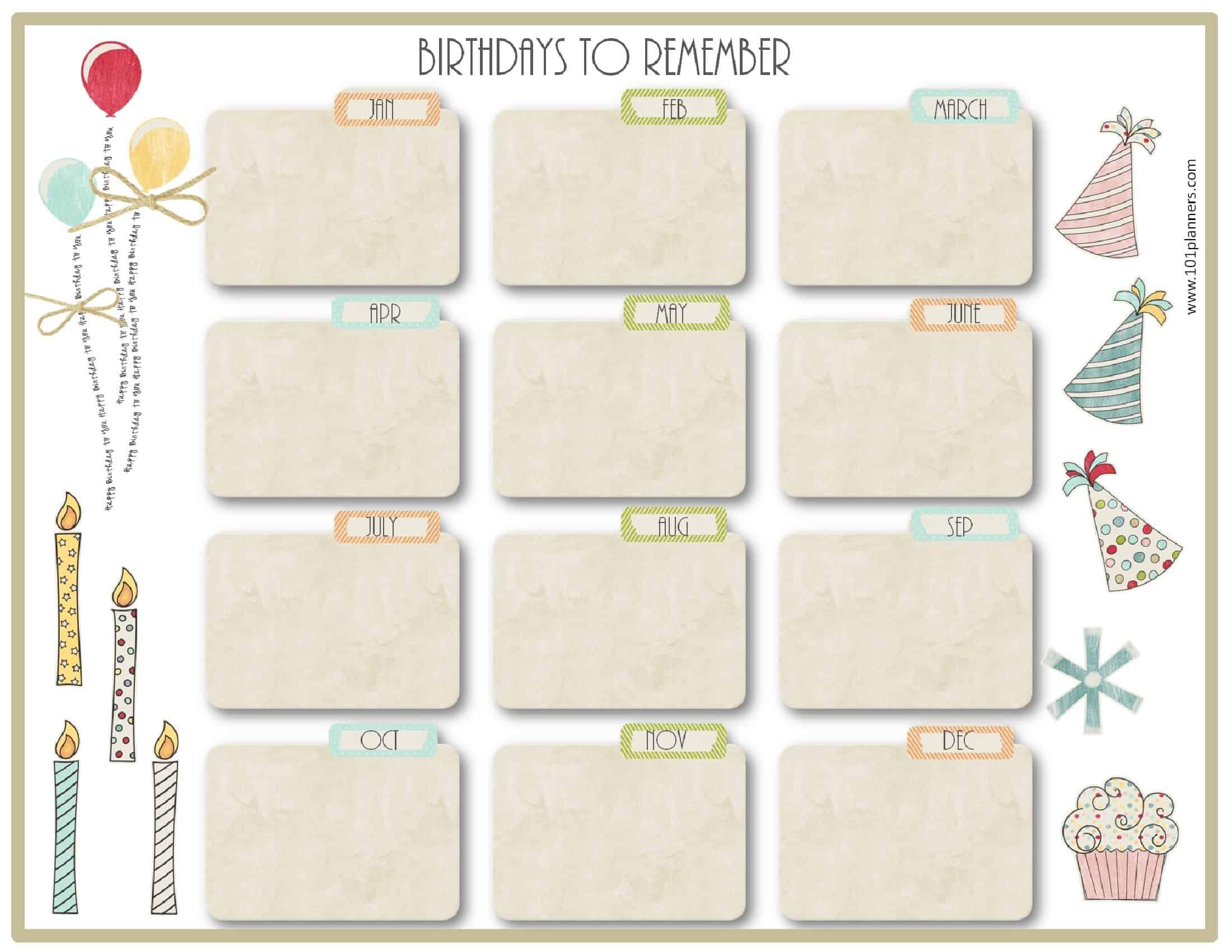 Free Birthday Calendar | Printable & Customizable | Many Designs! inside Blank Monthly Birthday Calendars