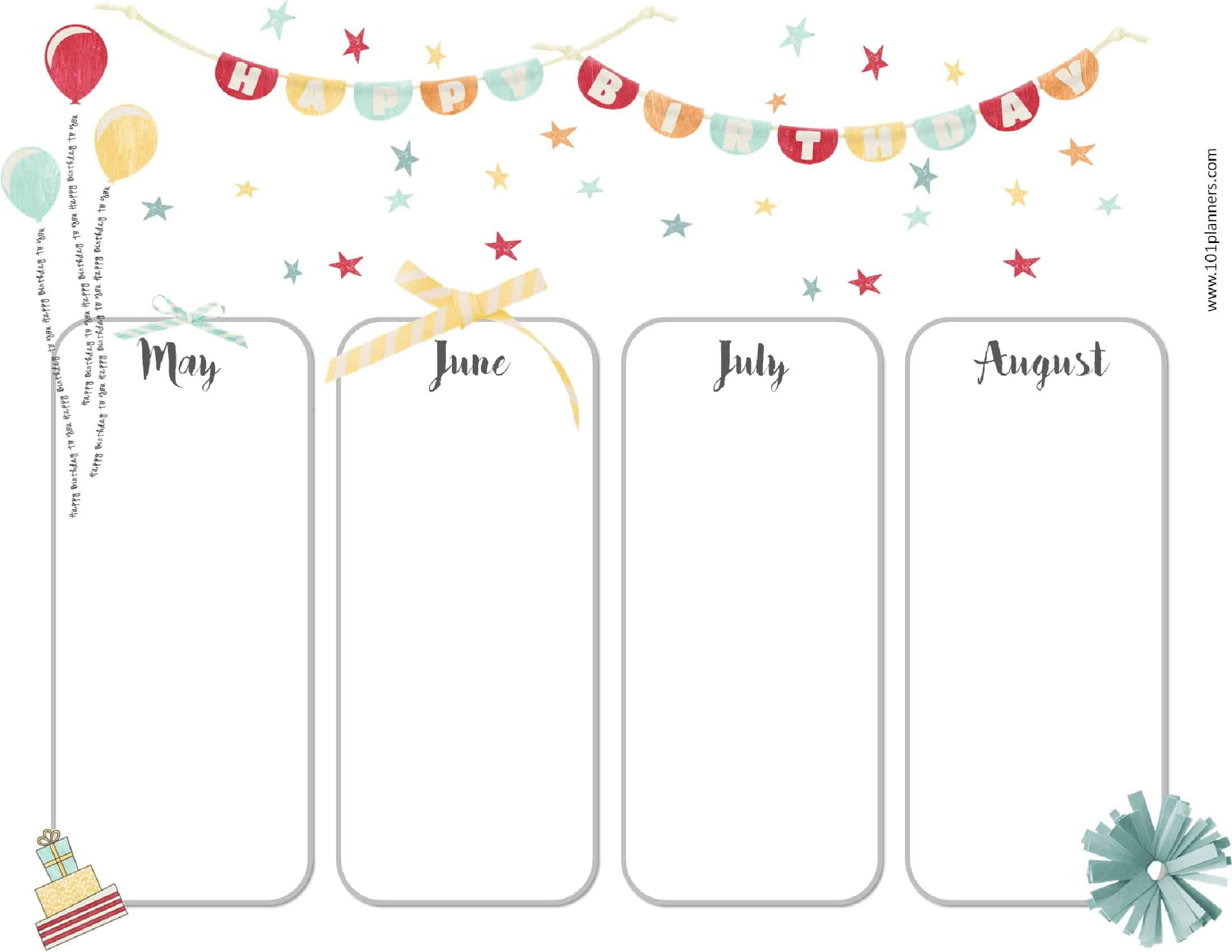 Free Birthday Calendar | Printable & Customizable | Many Designs! inside Edited Birthday Calendar Template
