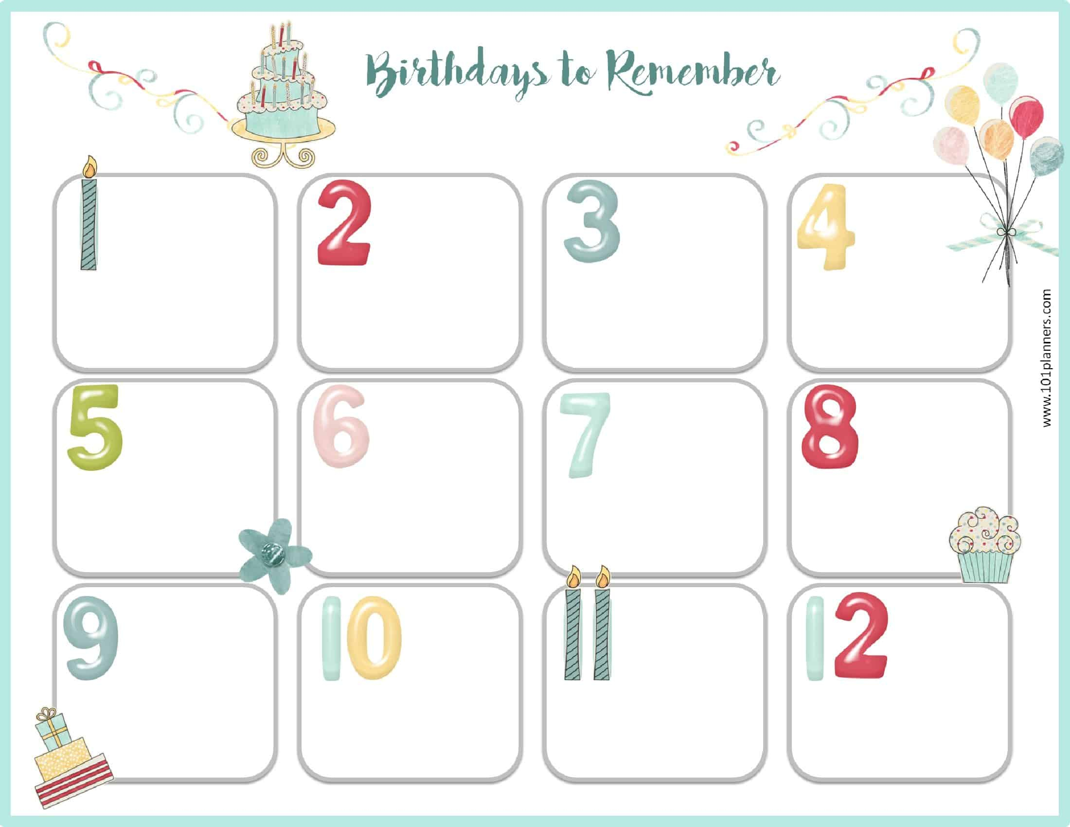 Free Birthday Calendar | Printable & Customizable | Many Designs! intended for Free Printable Birthday Calendar Template