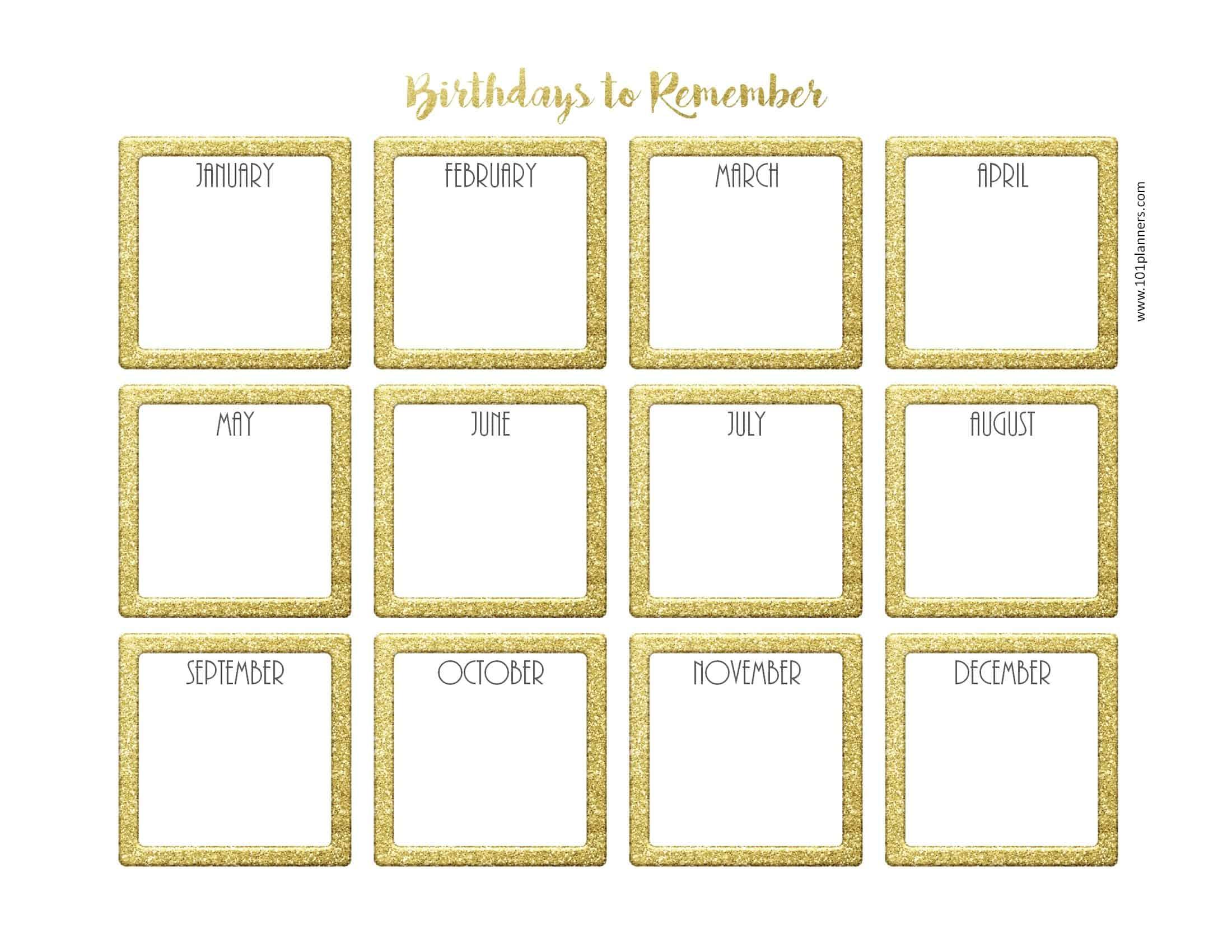 Free Birthday Calendar | Printable & Customizable | Many Designs! regarding Blank Monthly Birthday Calendars