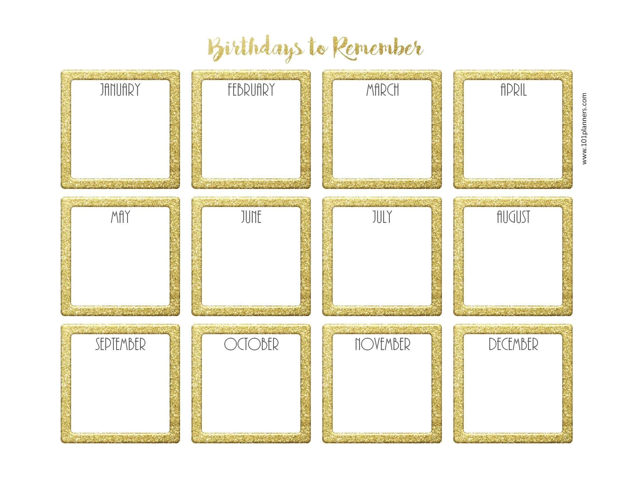 Free Birthday Calendar | Printable & Customizable | Many Designs! with regard to Edited Birthday Calendar Template