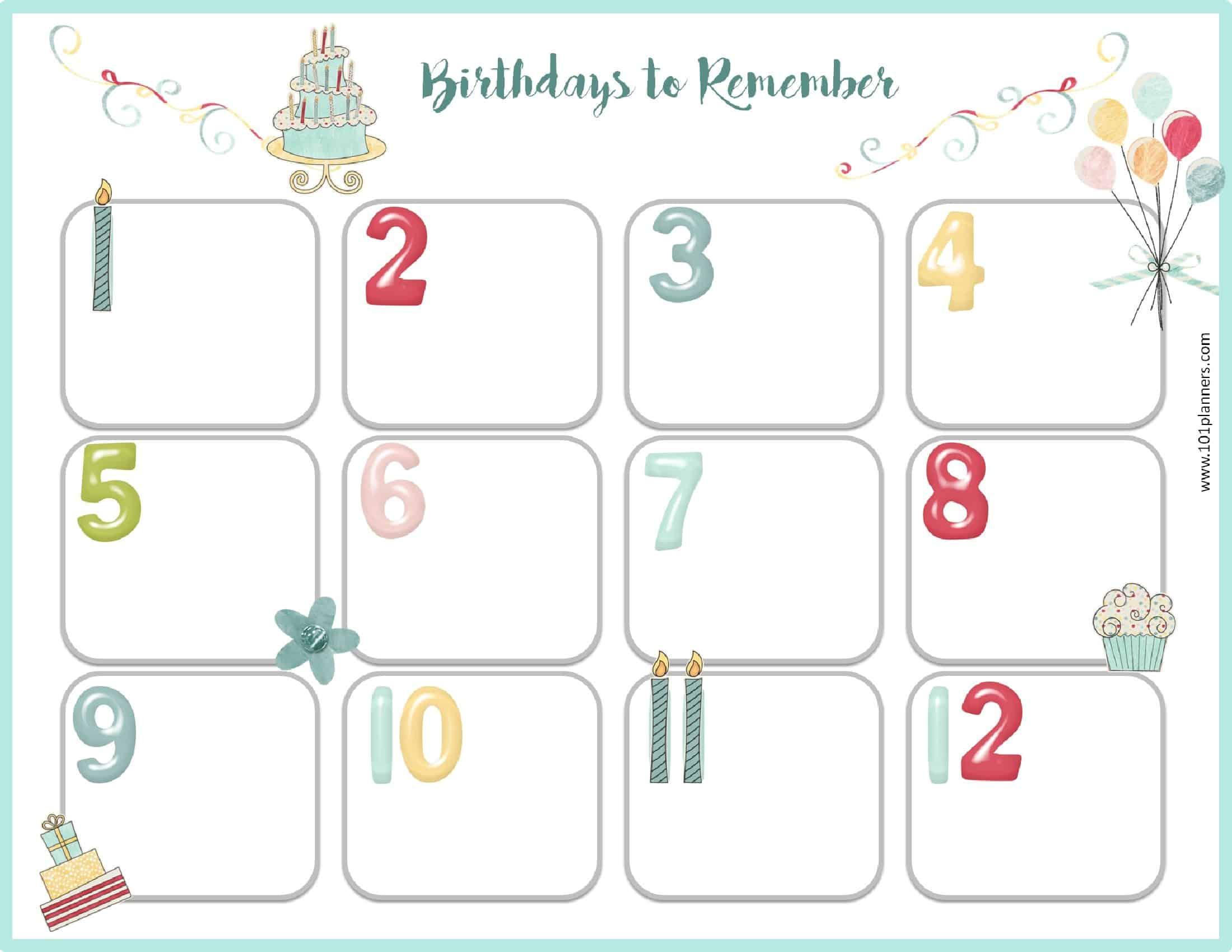 Free Birthday Calendar   Printable & Customizable   Many Designs! within Monthly Birthday Calendar Template