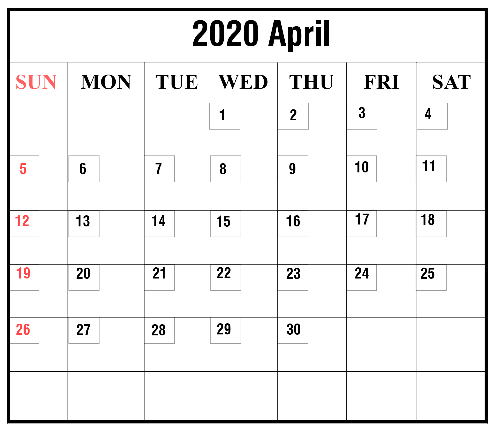 Free Blank April 2020 Printable Calendar [Pdf, Excel & Word regarding Calendar 2020 That Can Be Edited
