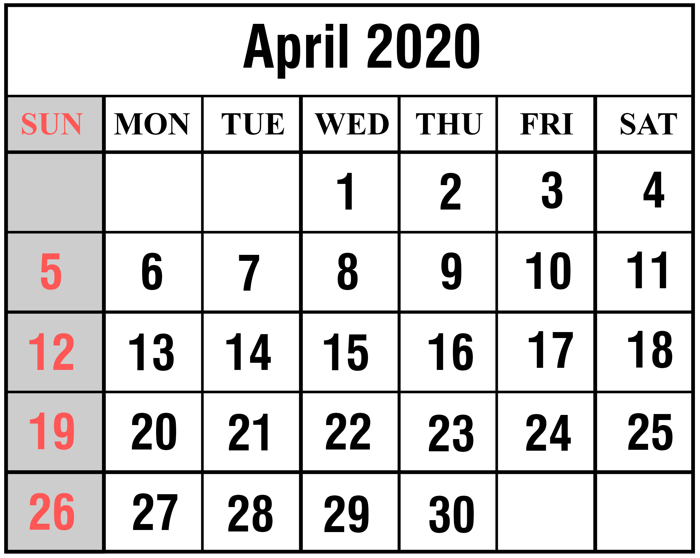 Free Blank April 2020 Printable Calendar [Pdf, Excel & Word with regard to 2020 Calender With Space To Write