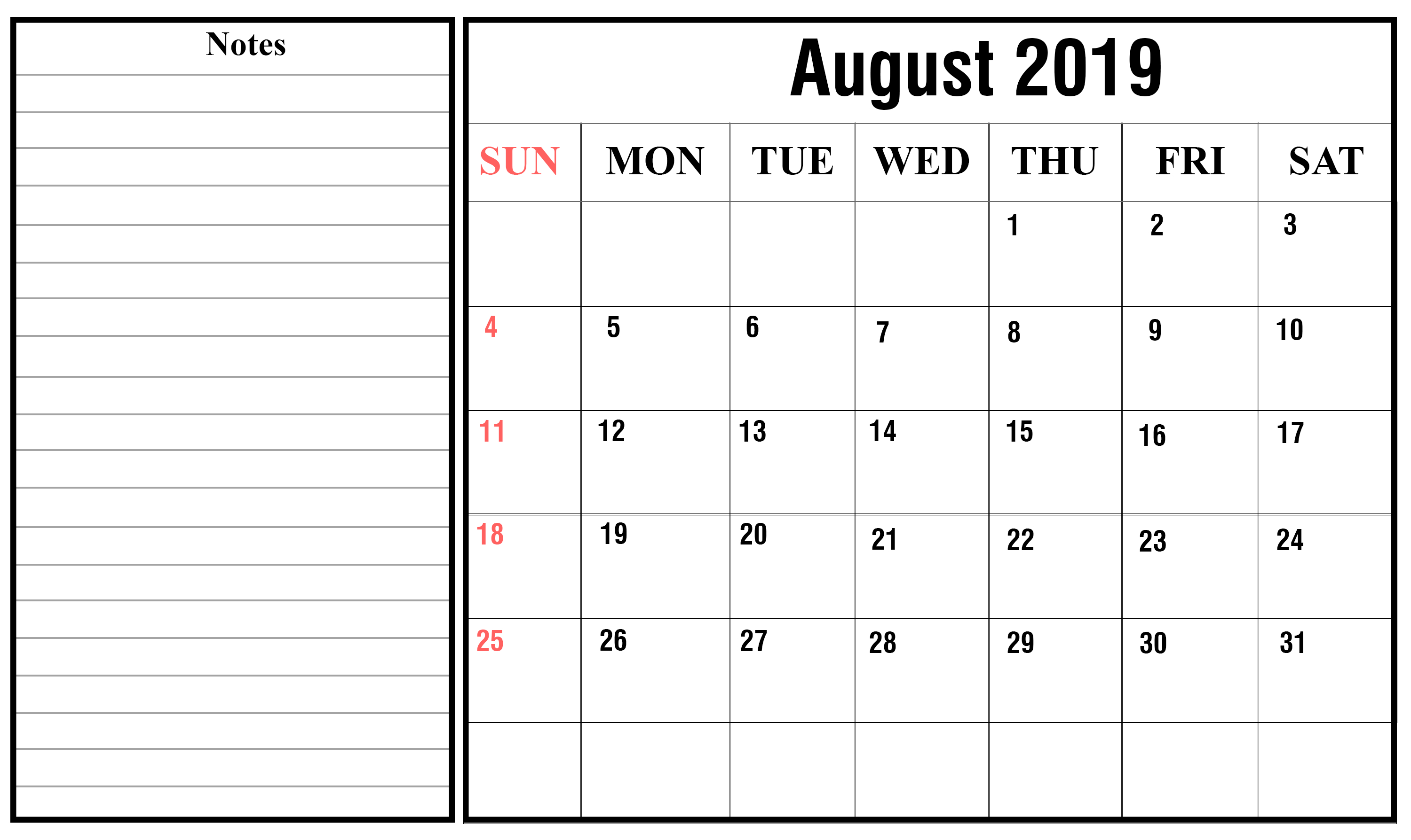 Free Blank August Calendar 2019 Printable Template in August Calendar Template To Type In