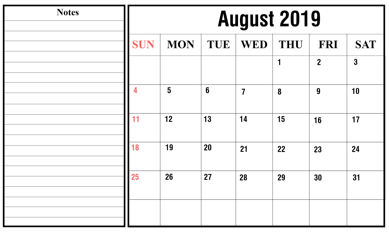 Free Blank August Calendar 2019 Printable Template intended for August Calendar Template With Notes