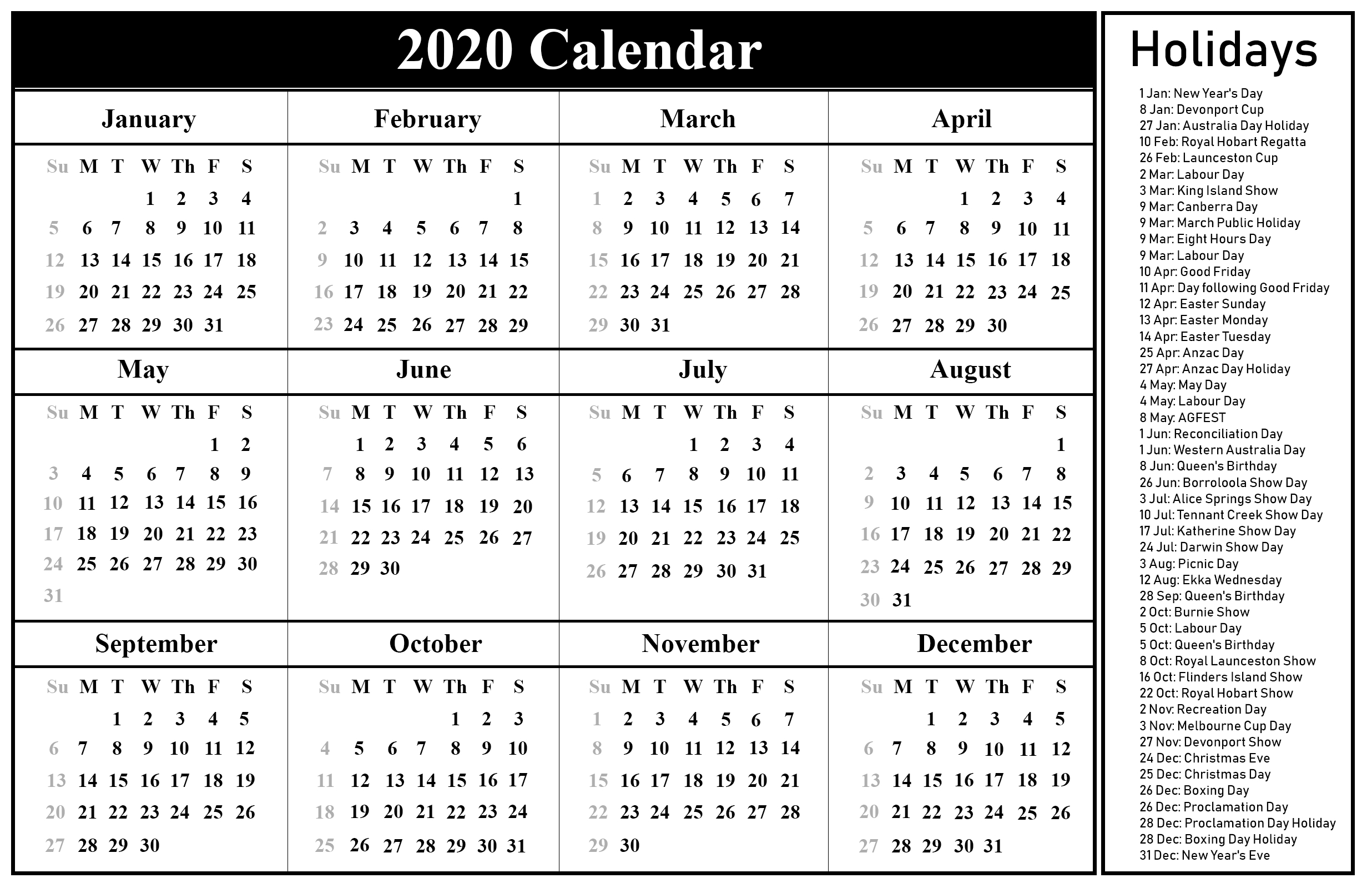 Free Blank Australia Calendar 2020 In Pdf, Excel & Word Format for Year Calendar 2020 With Space To Write