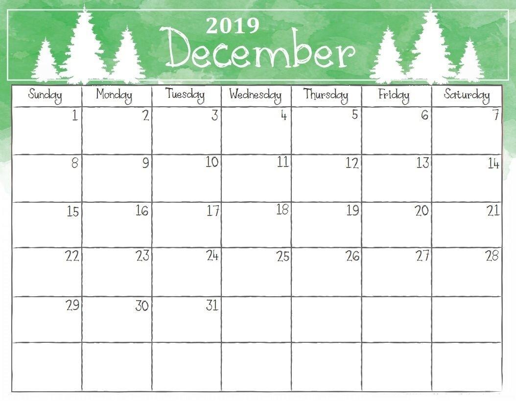 Free Blank December 2019 Calendar Printable Template In Pdf, Word pertaining to Blank Dec Calendar Printable