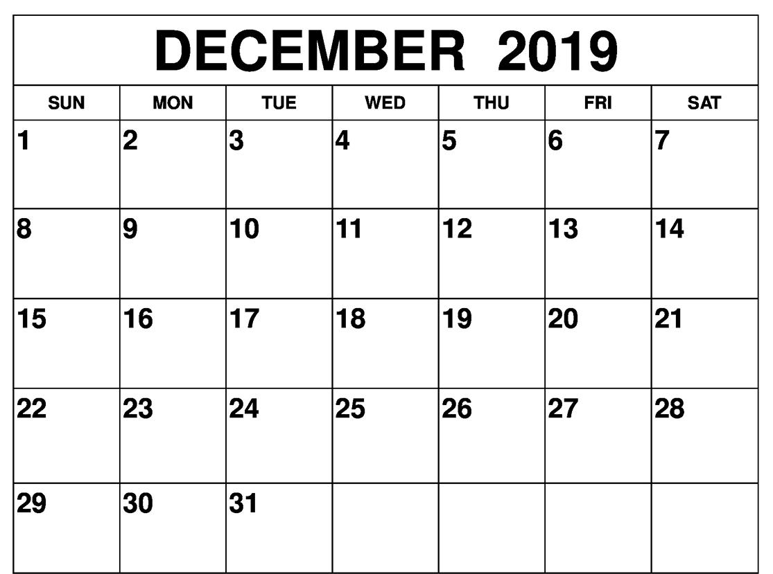 Free Blank December 2019 Calendar Printable Template In Pdf, Word with Blank Writable Calendar Template Large December Calendar Com