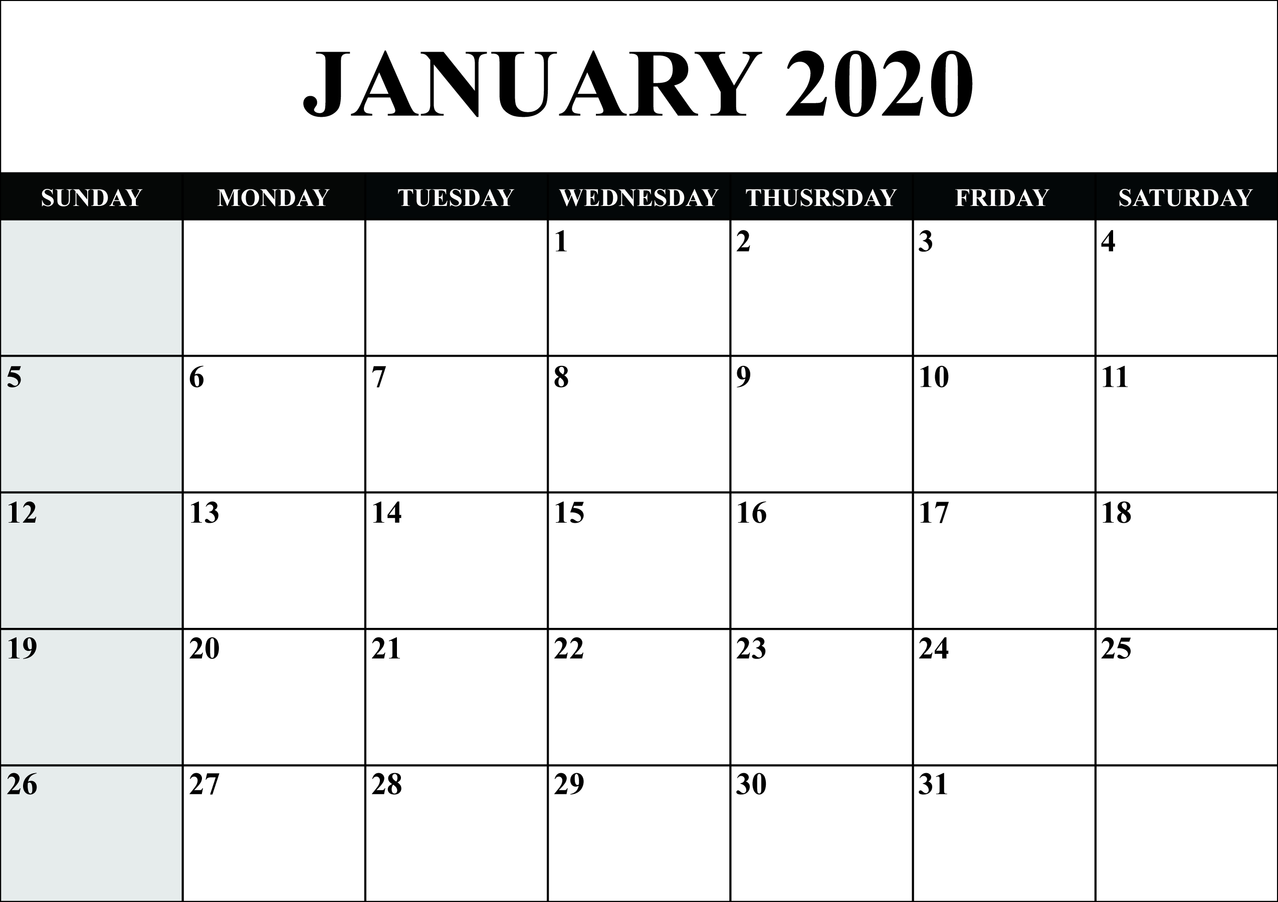 Free Blank January 2020 Calendar Printable In Pdf, Word, Excel intended for Blank 2020 Calendar Starting On Saturday Printable Free