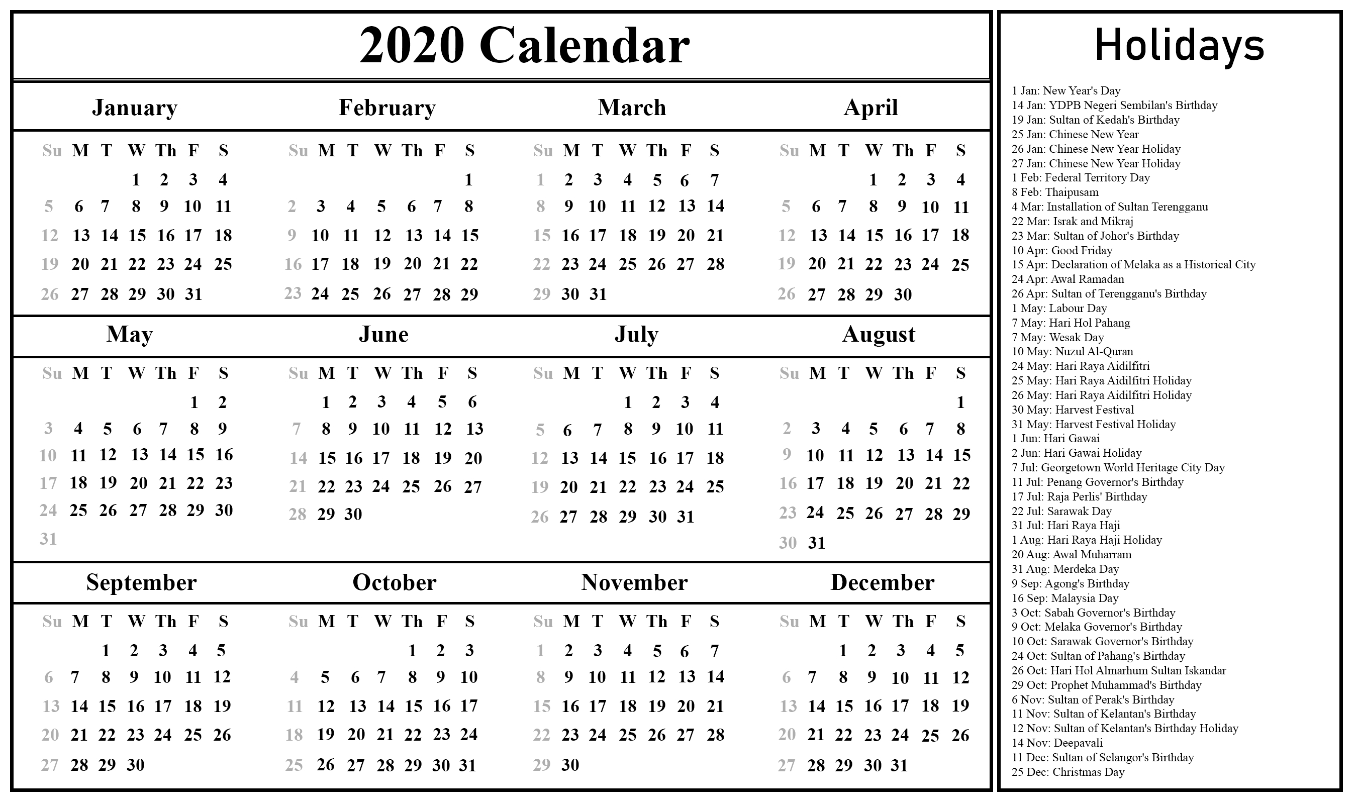 Free Blank Malaysia 2020 Printable Calendar In Pdf, Excel & Word with regard to 2020 Free Printable Emploee Calendars