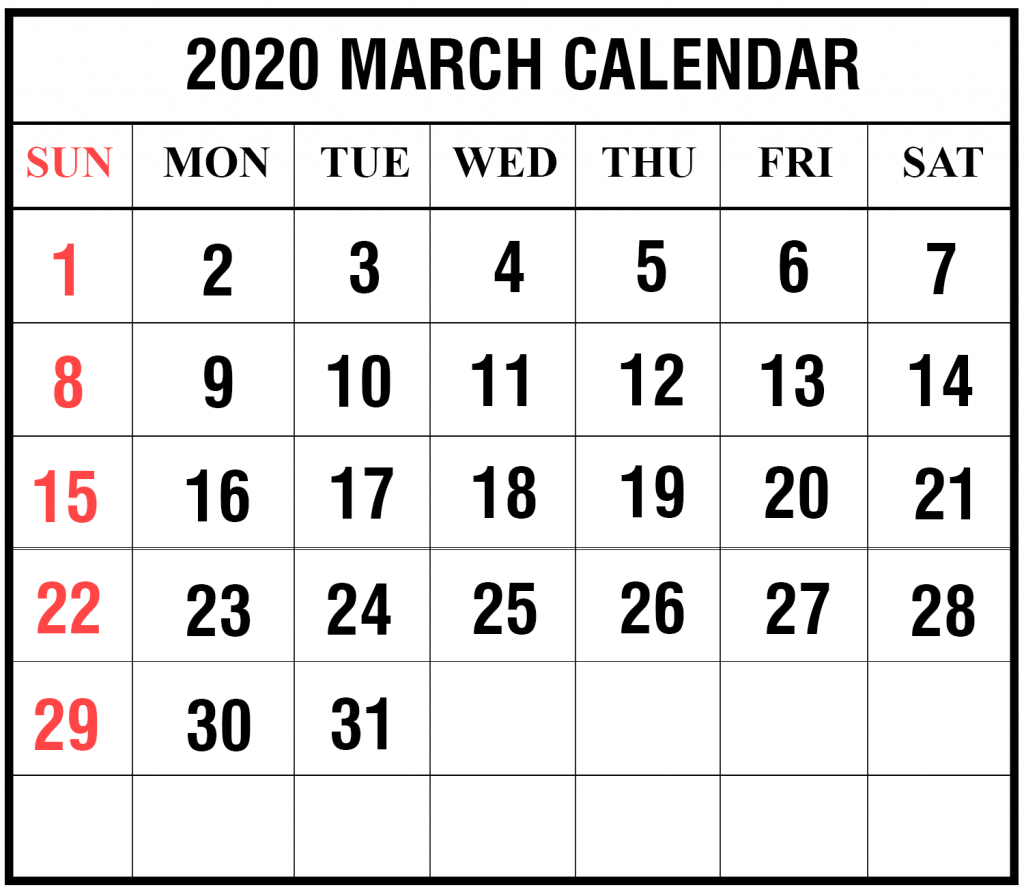 Free Blank March 2020 Calendar Printable In Pdf, Word, Excel for National Day Calendar 2020 Printable